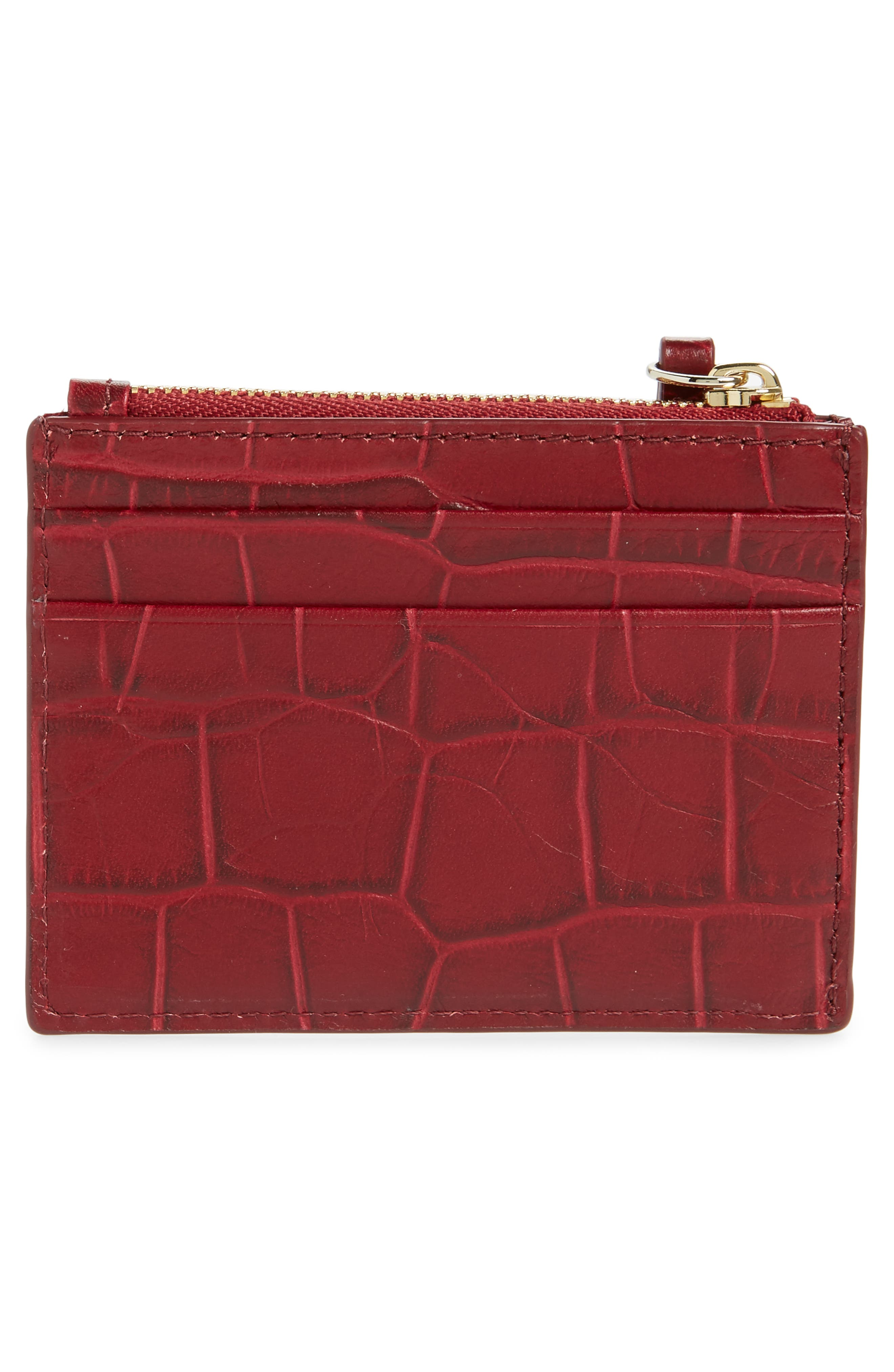 KATE SPADE NEW YORK,                             murray street - lalena croc embossed leather card case,                             Alternate thumbnail 2, color,                             600