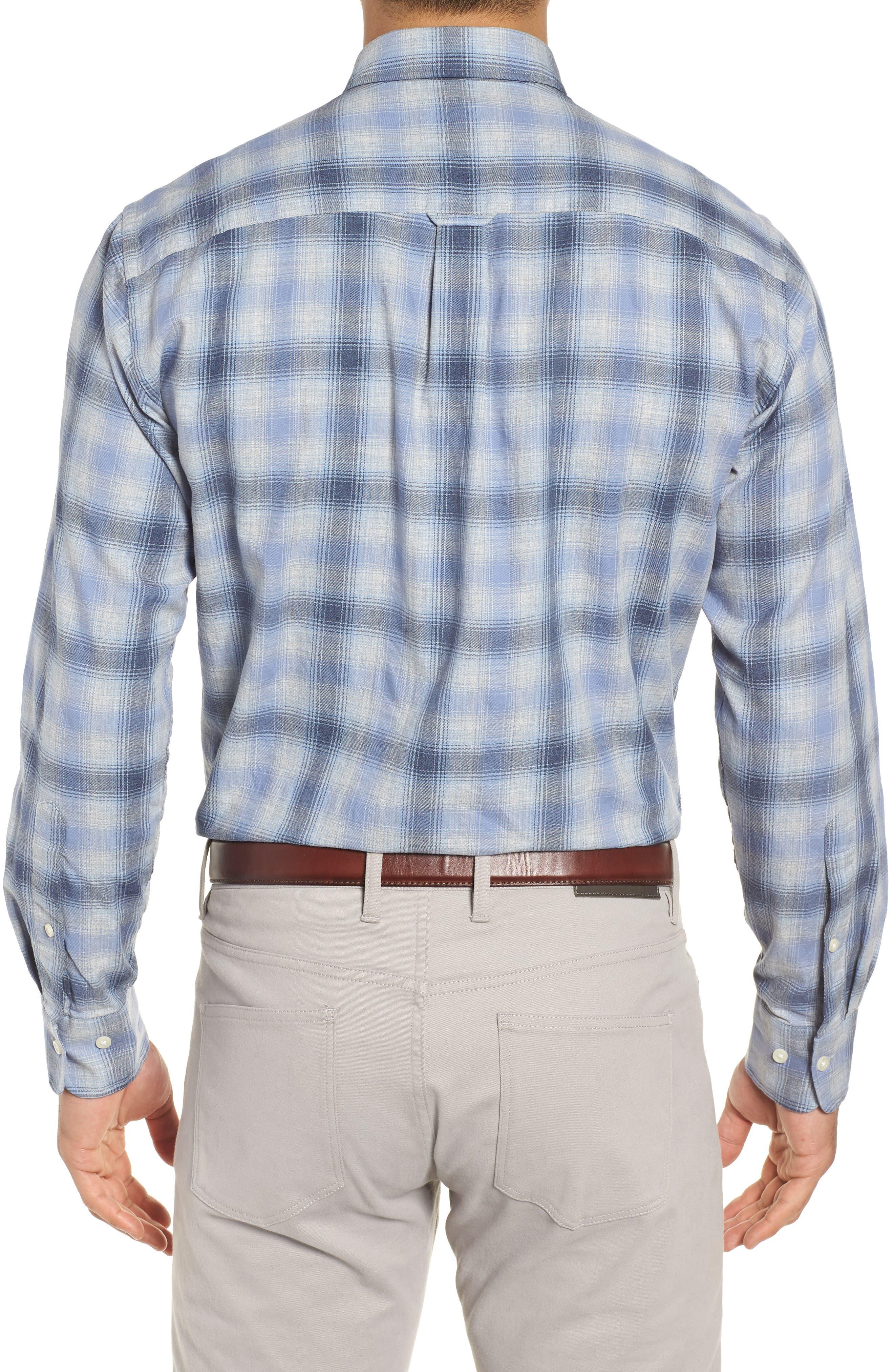 Mountain Fog Plaid Sport Shirt,                             Alternate thumbnail 3, color,                             ATLANTIC BLUE