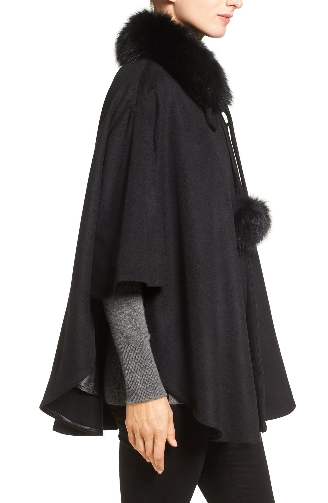 Genuine Fox Fur Collar Cashmere Cape,                             Alternate thumbnail 3, color,                             001