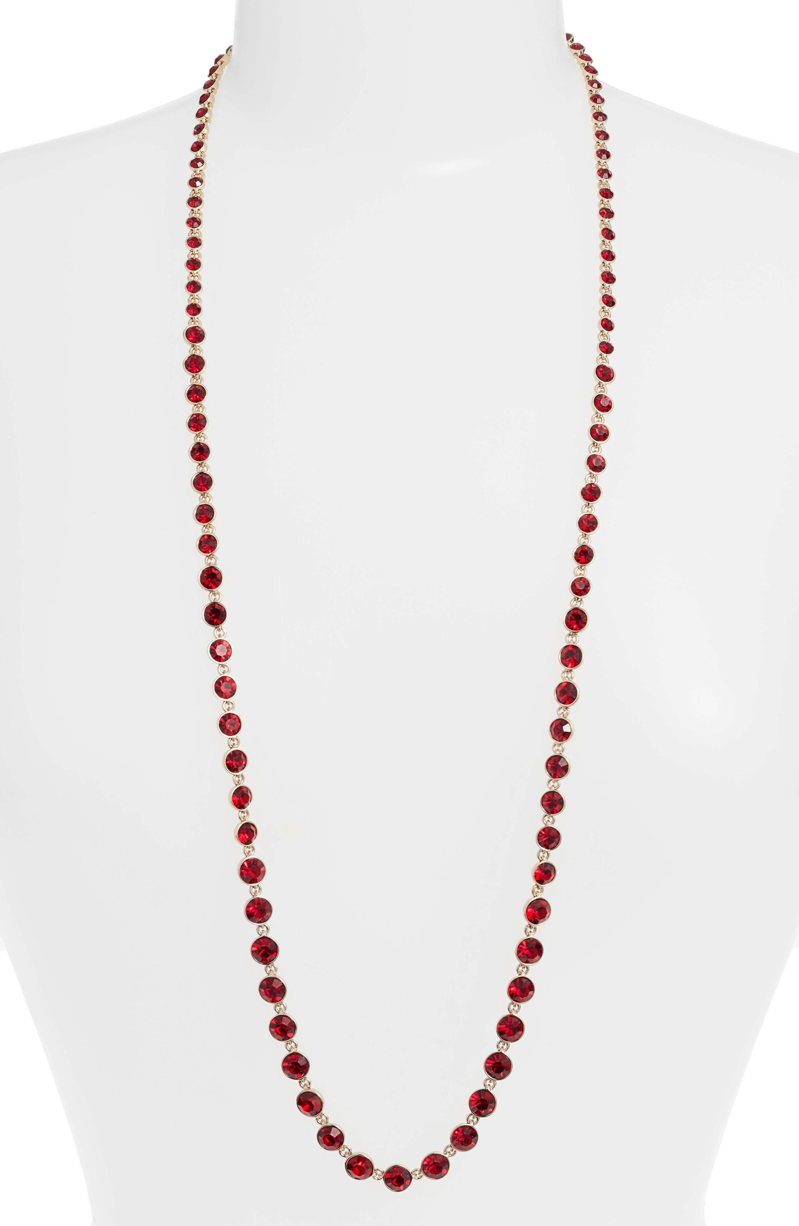 Long Crystal Strand Necklace,                             Main thumbnail 1, color,                             RED/ GOLD