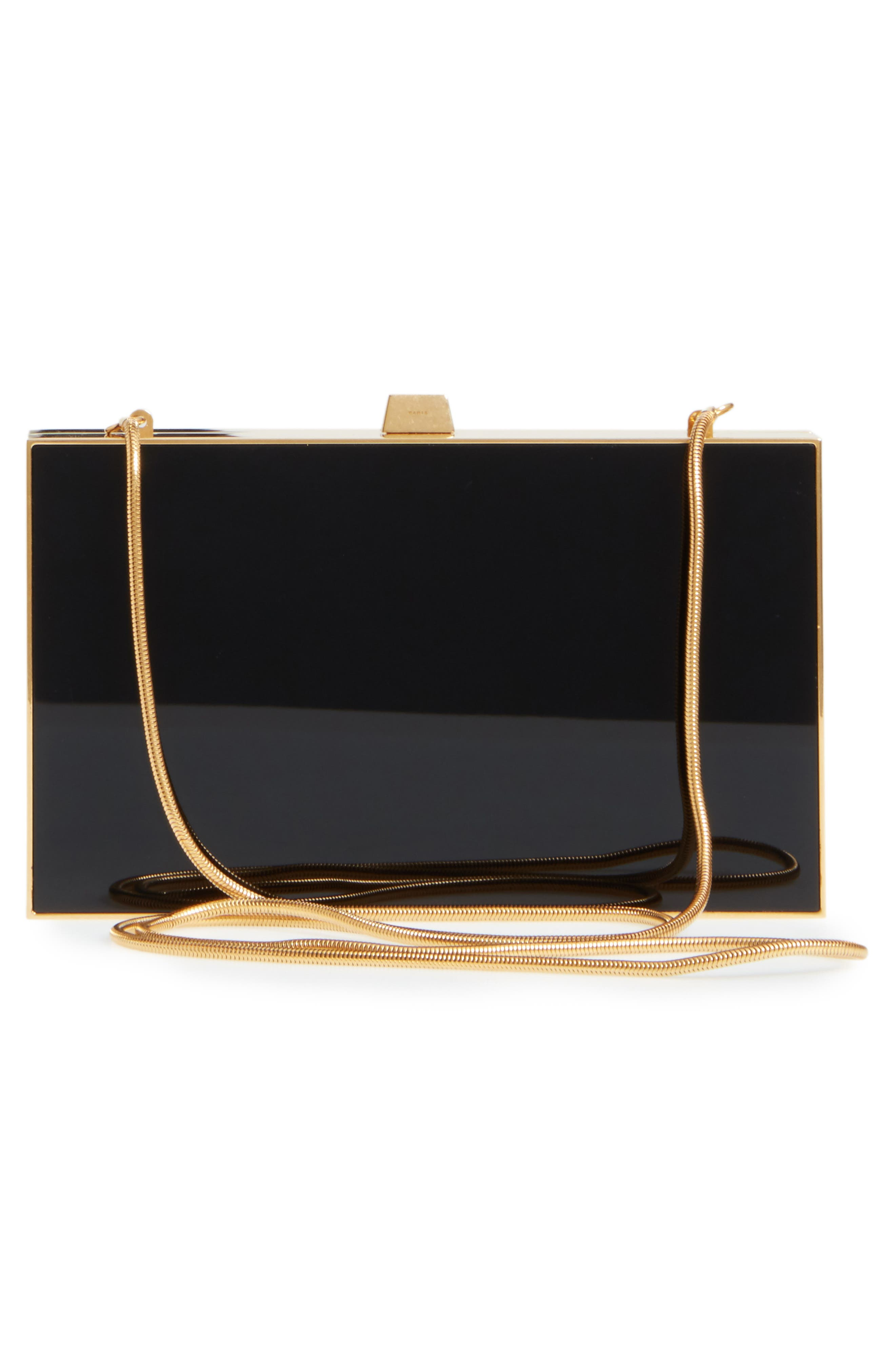Monogram Tuxedo Box Clutch,                             Alternate thumbnail 3, color,                             NOIR/ GOLD