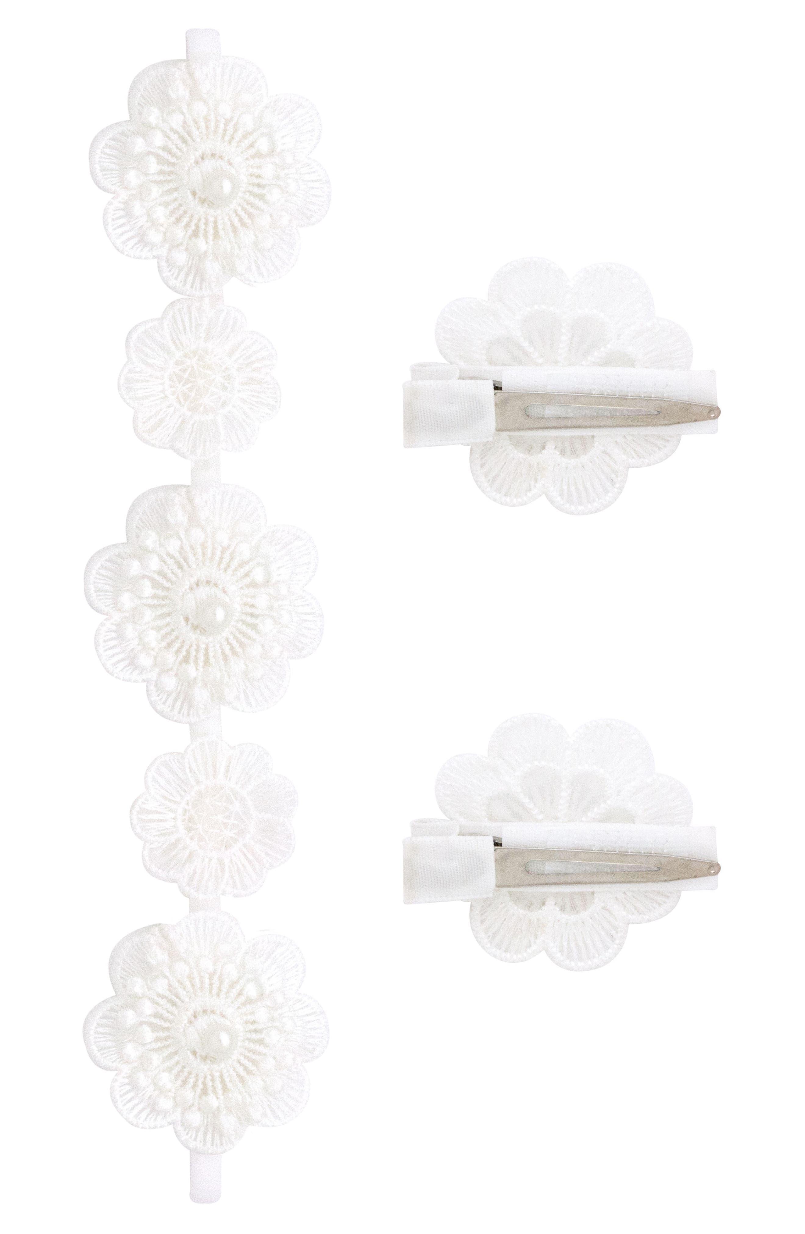 Headband & 2-Pack Hair Clips,                             Alternate thumbnail 2, color,                             WHITE