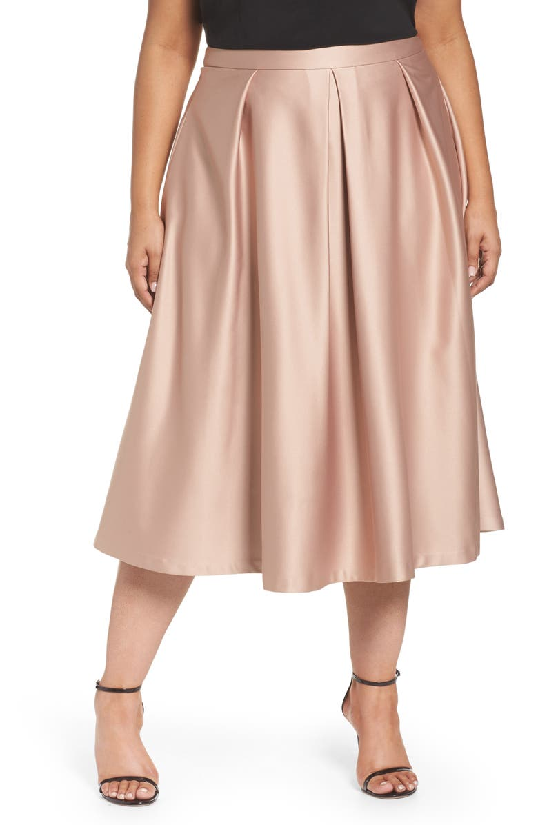 e8126abefdb City Chic Pucker Up Pleated Satin Midi Skirt (Plus Size)