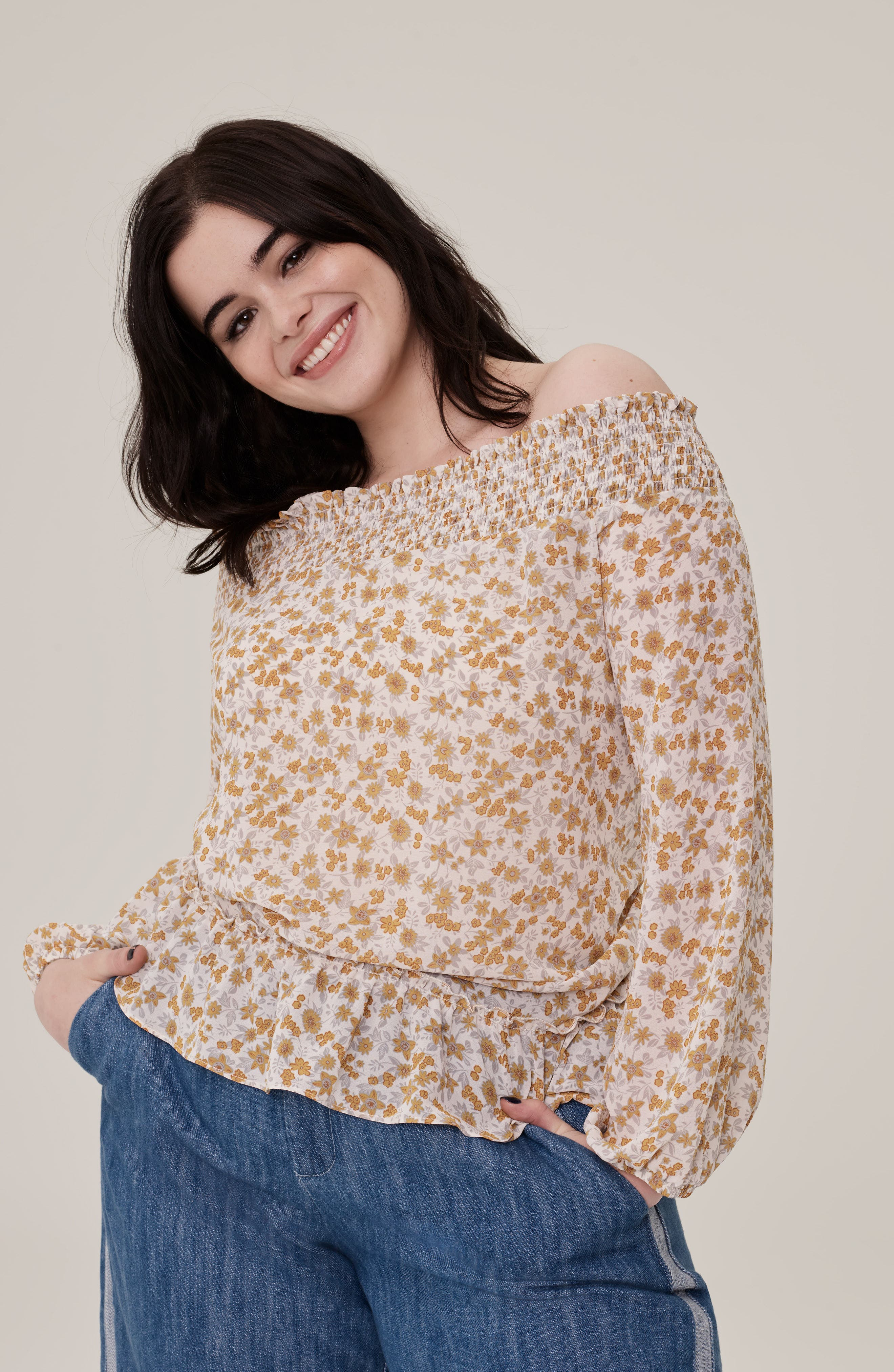 Floral Back Tie Off the Shoulder Blouse,                             Alternate thumbnail 8, color,                             760