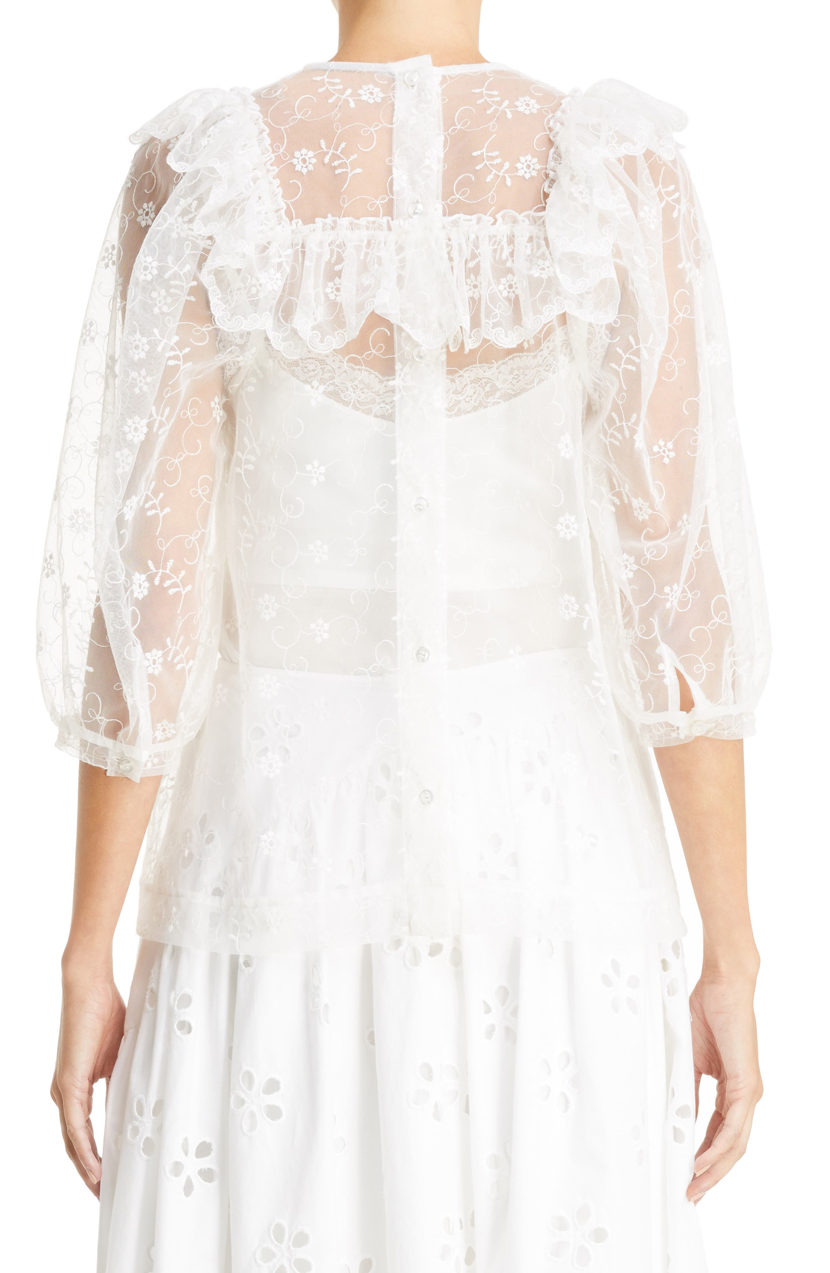 Frilled Bib Embroidered Tulle Top,                             Alternate thumbnail 2, color,                             900