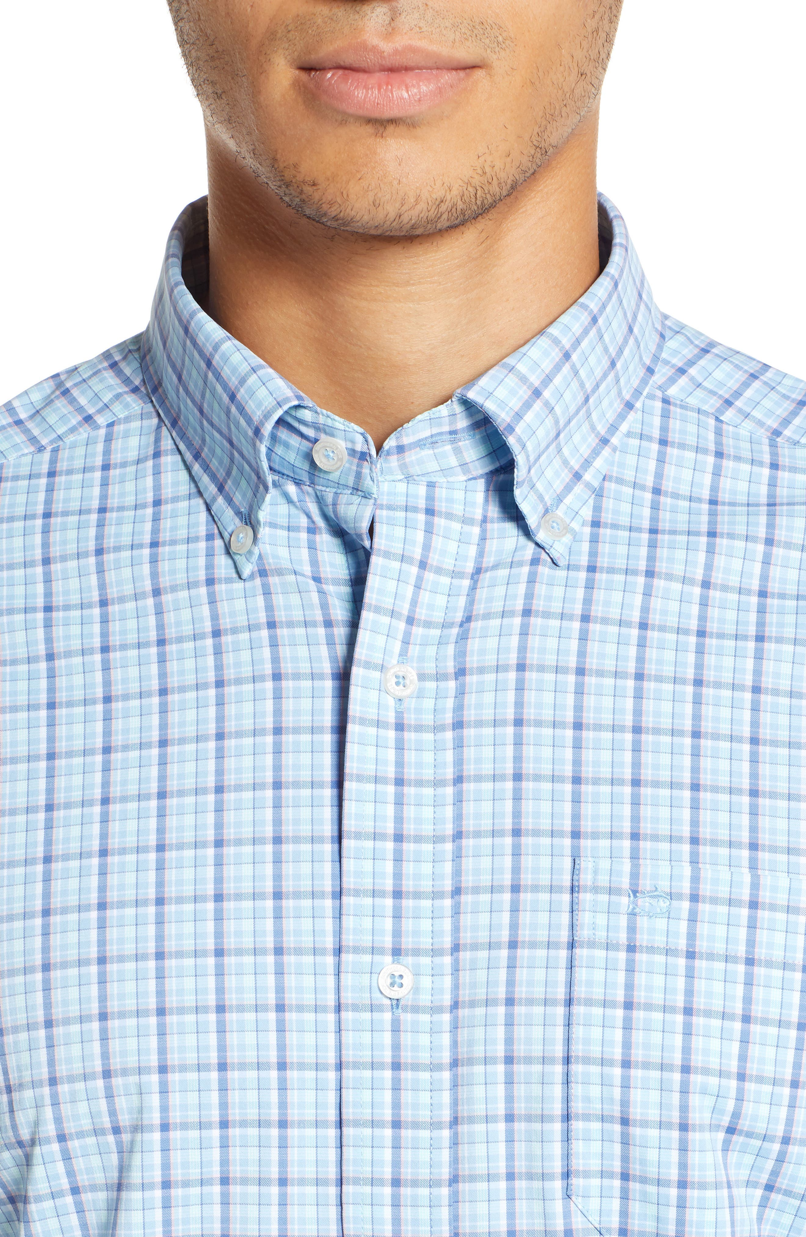 Staycation Intercoastal Regular Fit Plaid Performance Sport Shirt,                             Alternate thumbnail 2, color,                             SKY BLUE