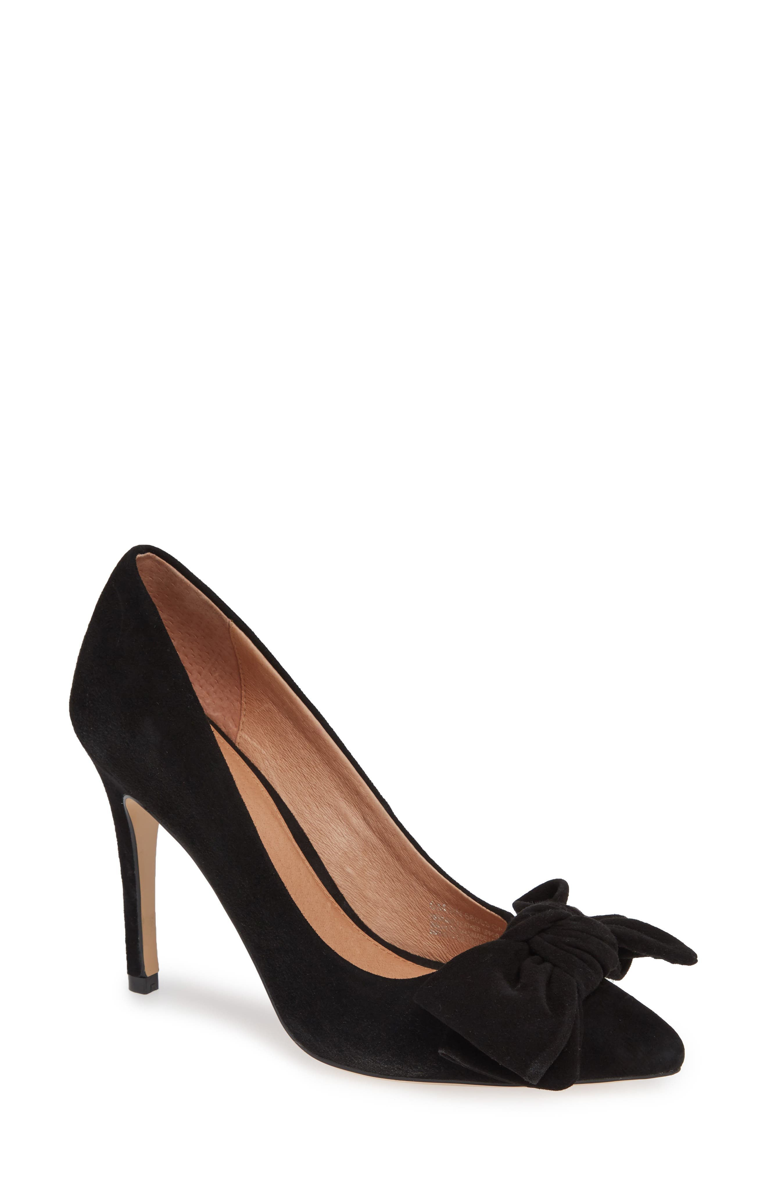x Atlantic-Pacific Georgiana Bow Pump,                             Main thumbnail 1, color,                             BLACK SUEDE