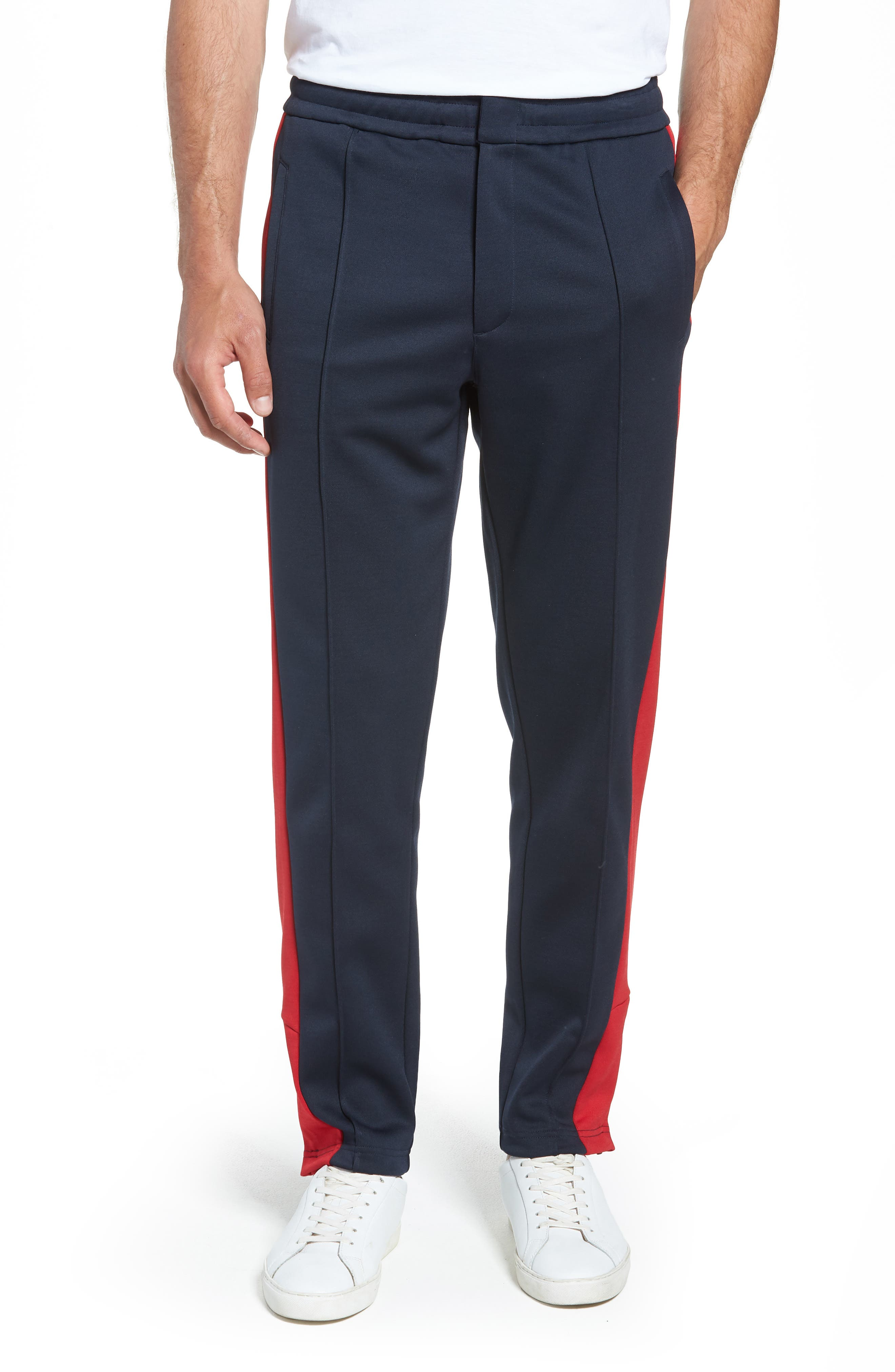 Club Slim Fit Track Pants,                             Main thumbnail 1, color,                             NAVY/ RED