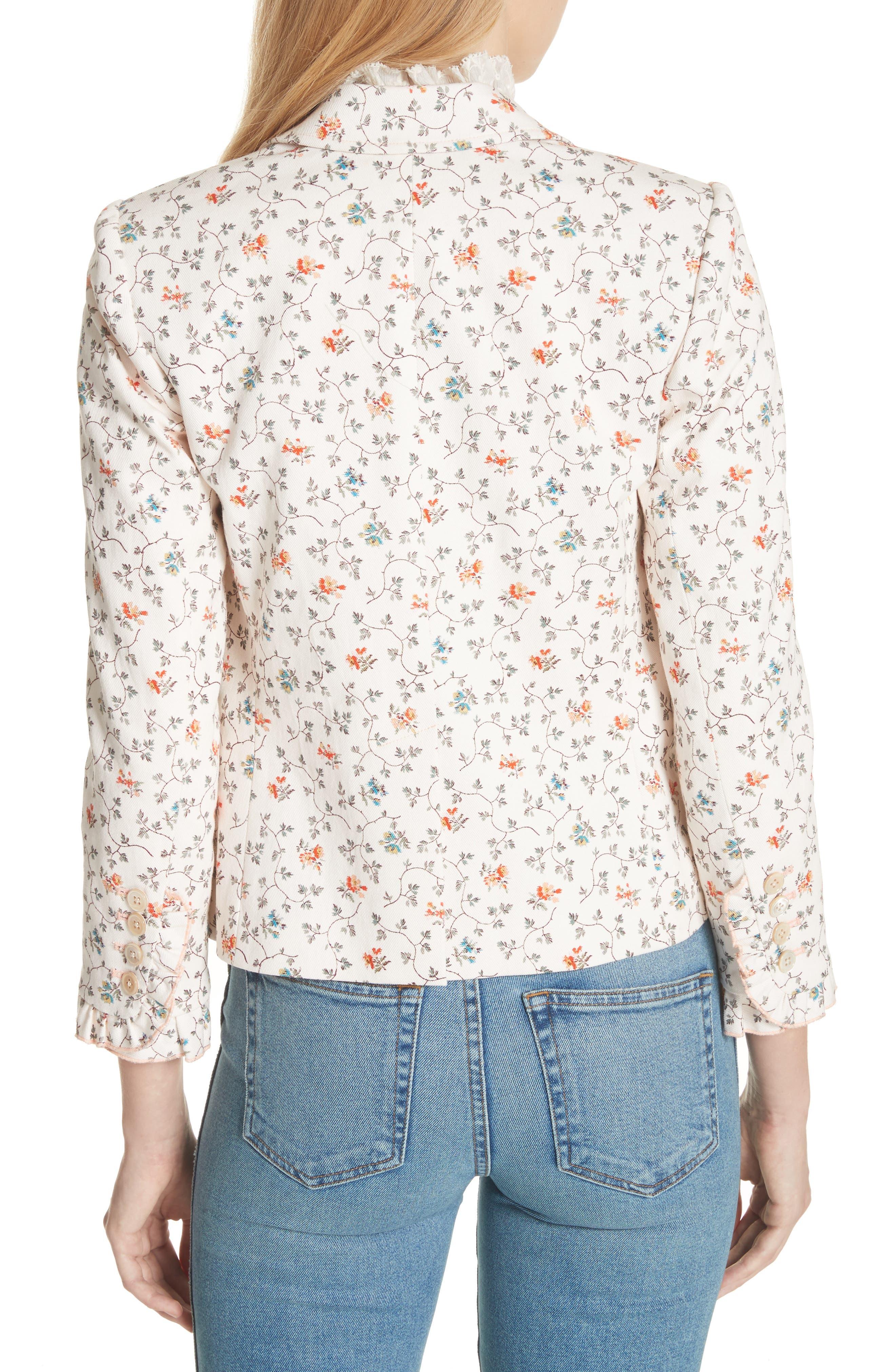 Floral Vine Twill Jacket,                             Alternate thumbnail 2, color,