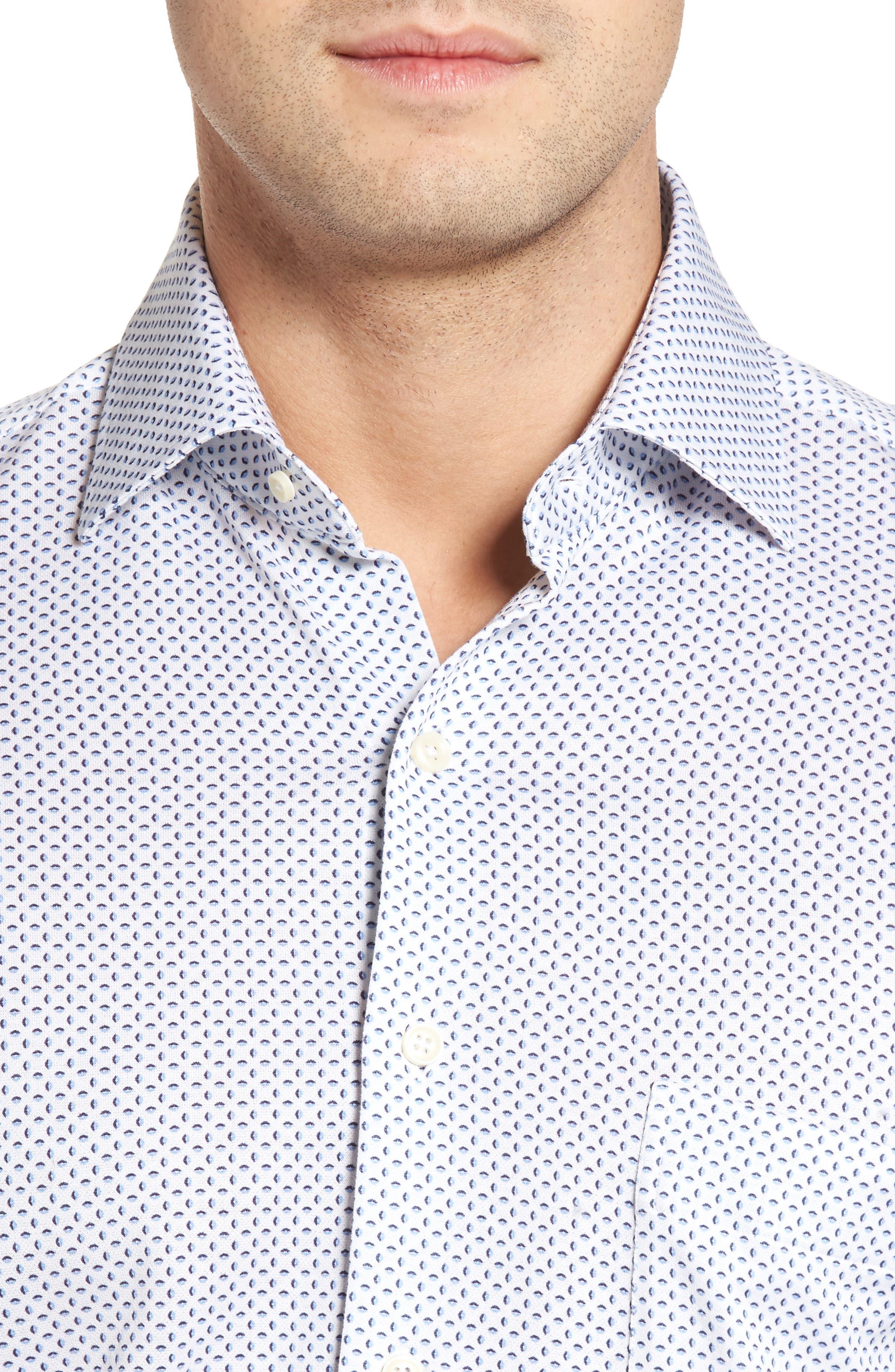 Ocean Mist Classic Fit Print Sport Shirt,                             Alternate thumbnail 4, color,