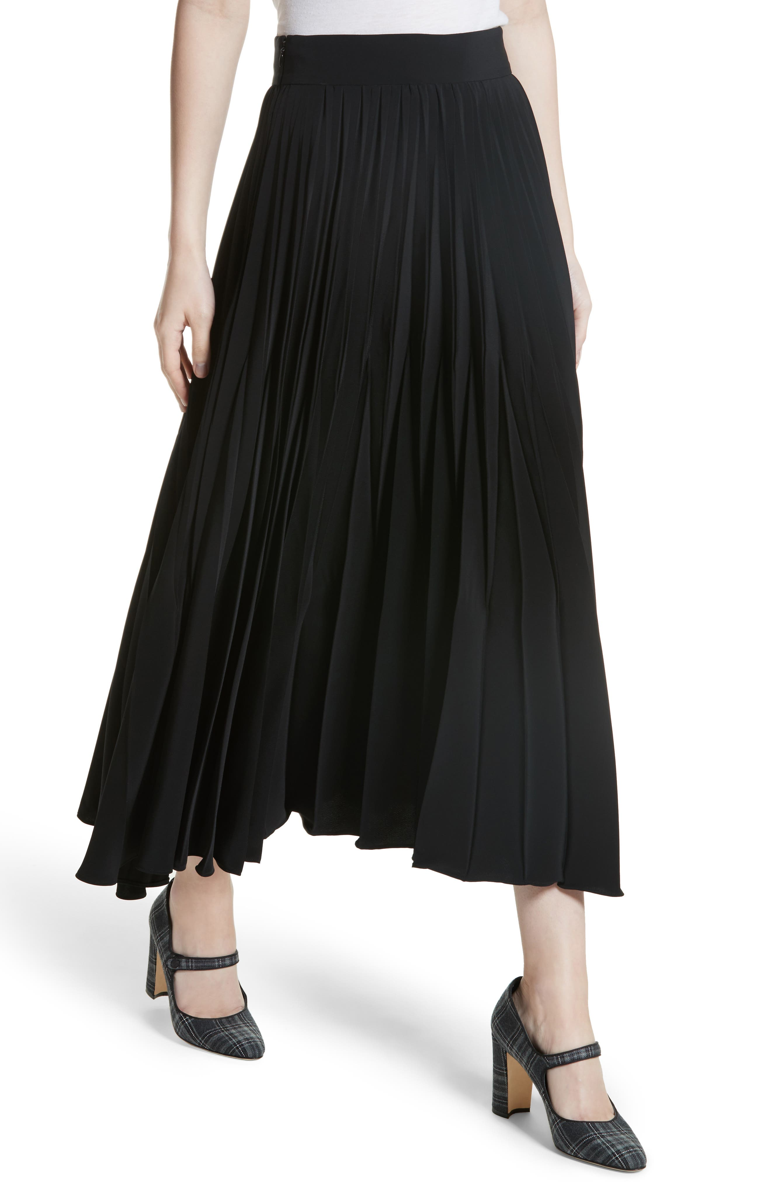 Pleated Stretch Crepe Midi Skirt,                             Alternate thumbnail 4, color,                             001