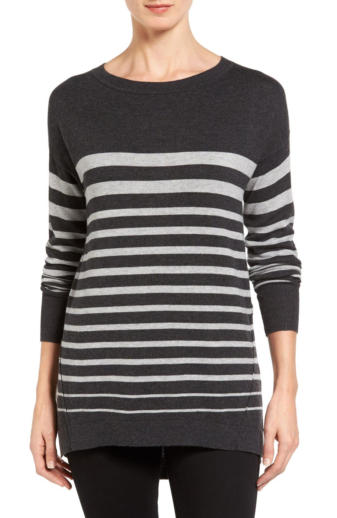 Zip Back High/Low Tunic Sweater,                             Main thumbnail 1, color,                             HEATHER CHARCOAL- GREY STRIPE