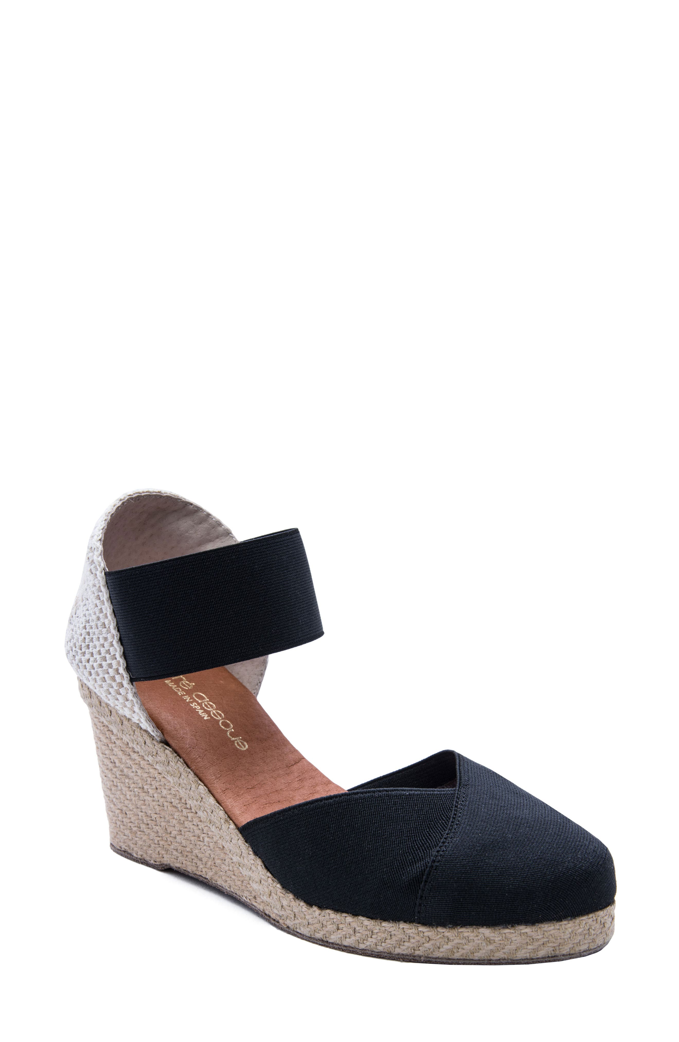 ANDRE ASSOUS Women'S Anouka Mid Wedge Espadrilles in Black Fabric