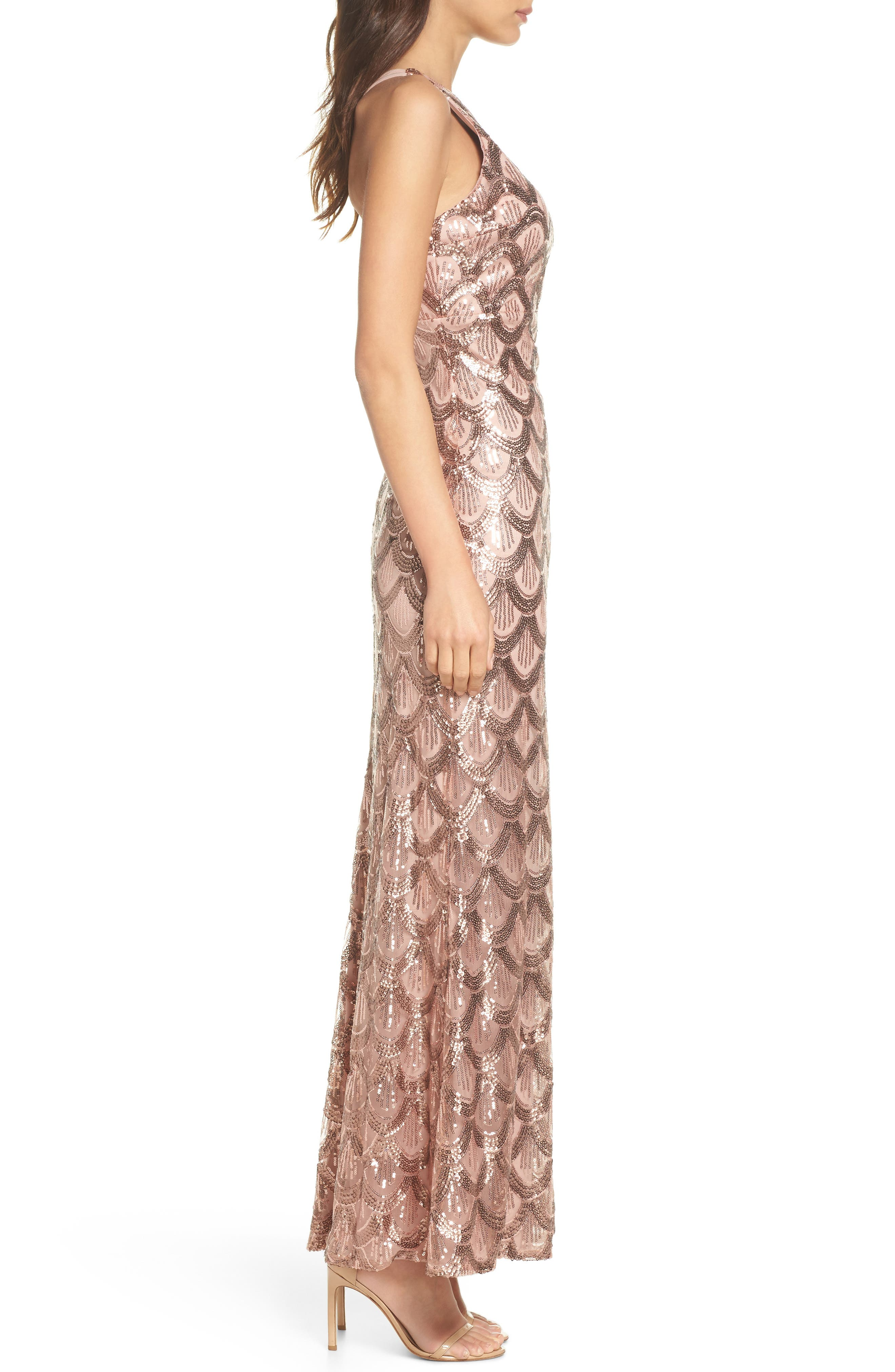 Strappy Back Sequin Gown,                             Alternate thumbnail 3, color,                             ROSE GOLD