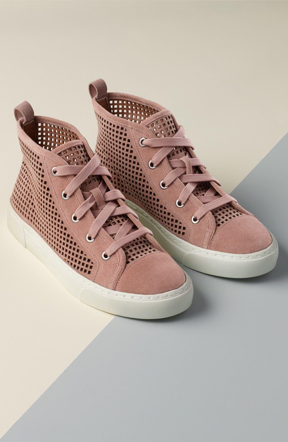 Dulcia Perforated High-Top Sneaker,                             Alternate thumbnail 5, color,                             001