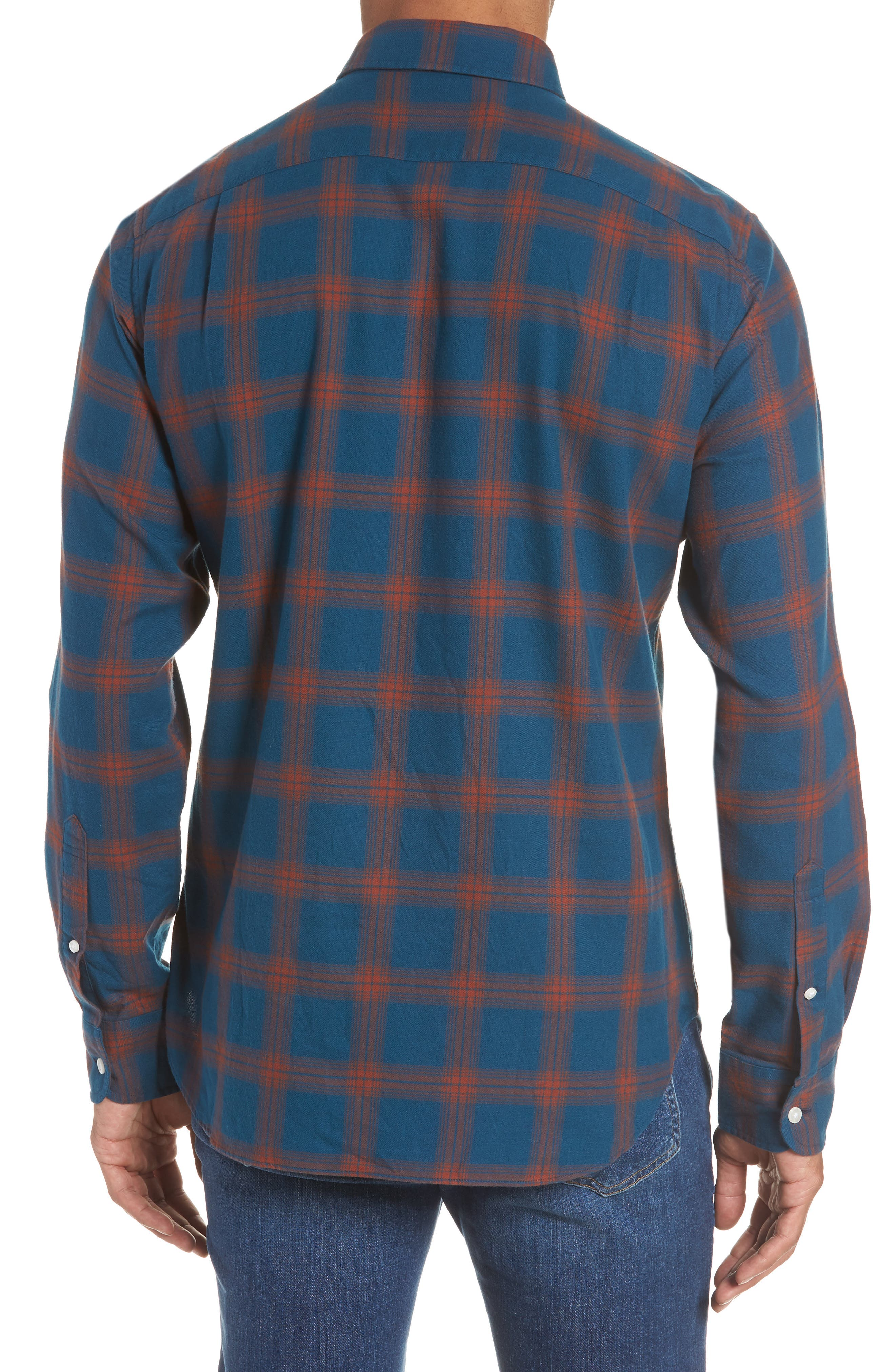 Slim Fit Check Brushed Twill Sport Shirt,                             Alternate thumbnail 3, color,                             CHECK TEAL