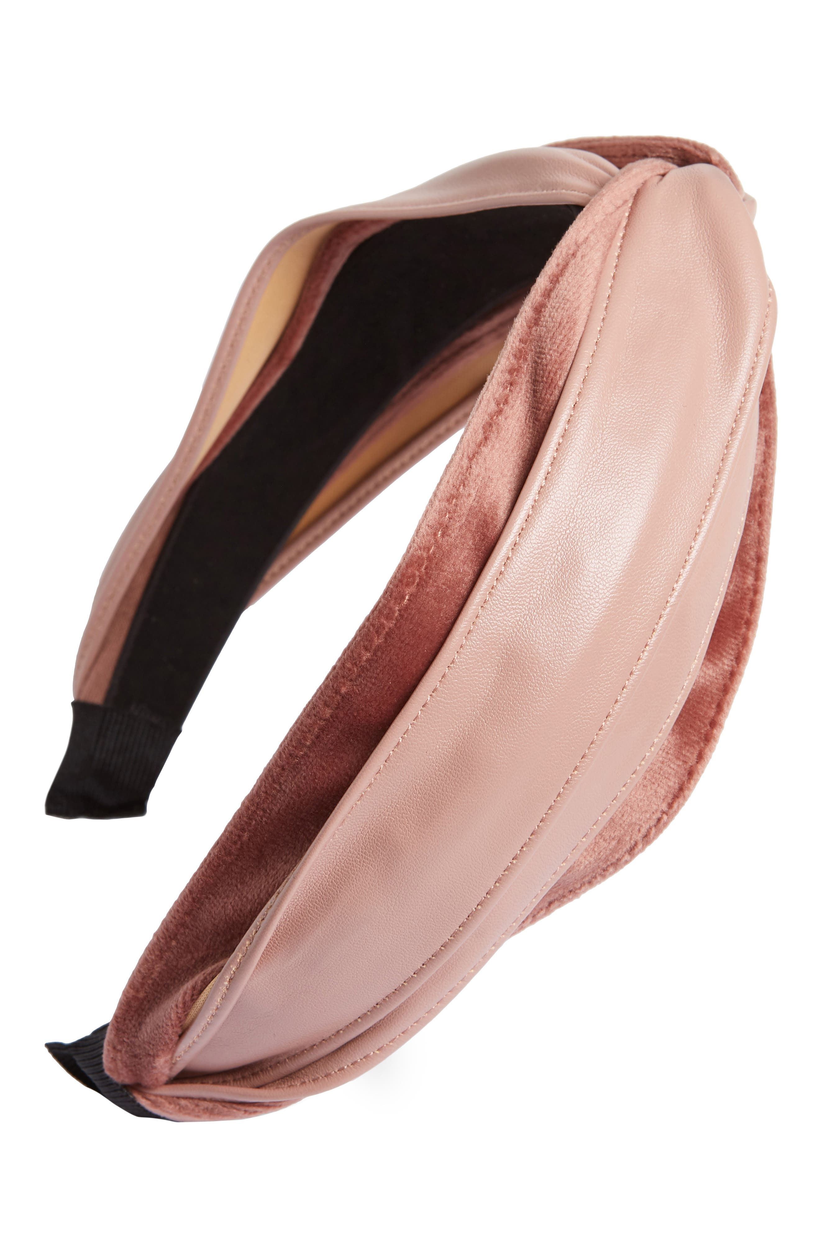 Faux Leather Twist Headband,                         Main,                         color, PINK