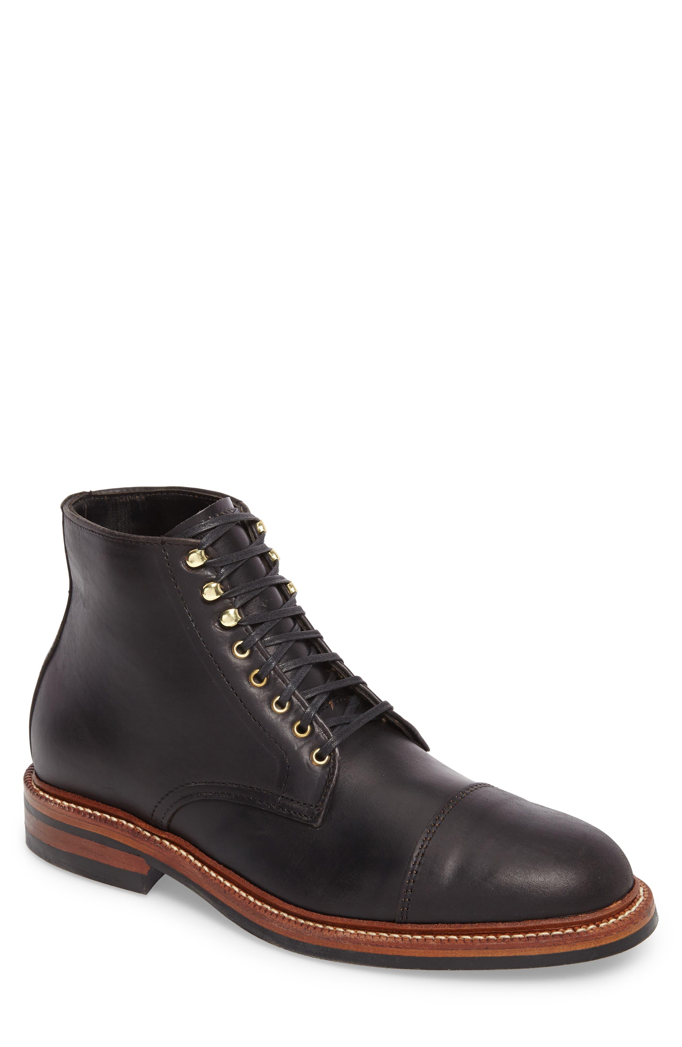 Lakeshore Cap Toe Boot,                         Main,                         color, BLACK LEATHER