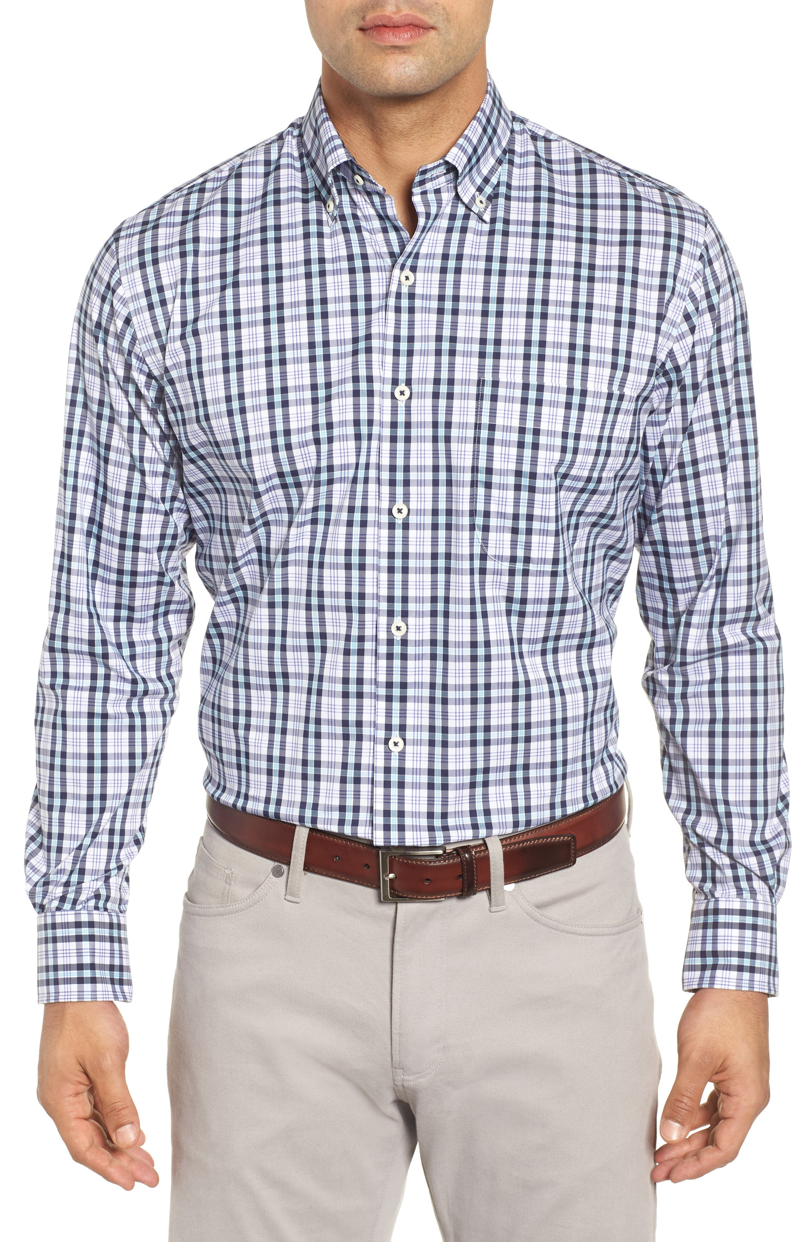 Moritz Check Sport Shirt,                         Main,                         color, NAVY