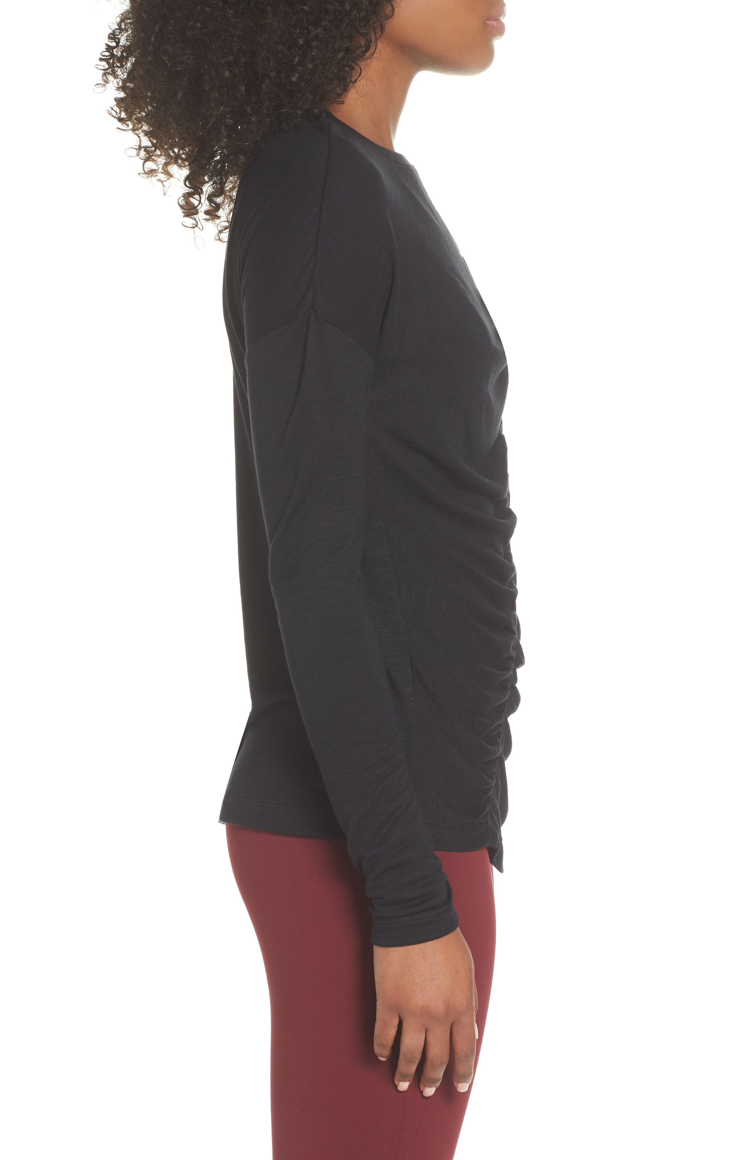 So Graceful Ruched Tee,                             Alternate thumbnail 3, color,                             BLACK