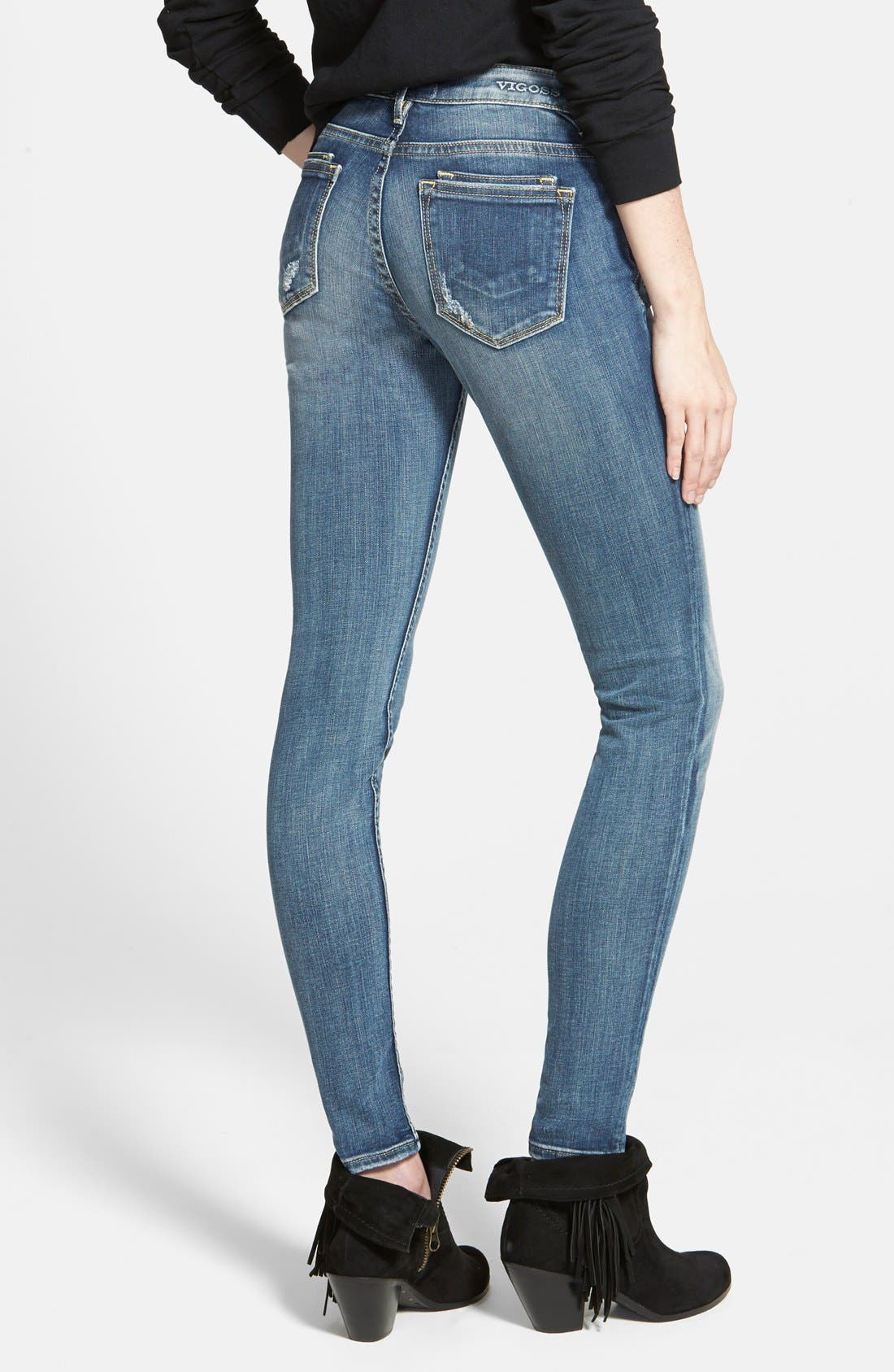 'Dublin' Distressed Skinny Jeans,                             Alternate thumbnail 4, color,                             400