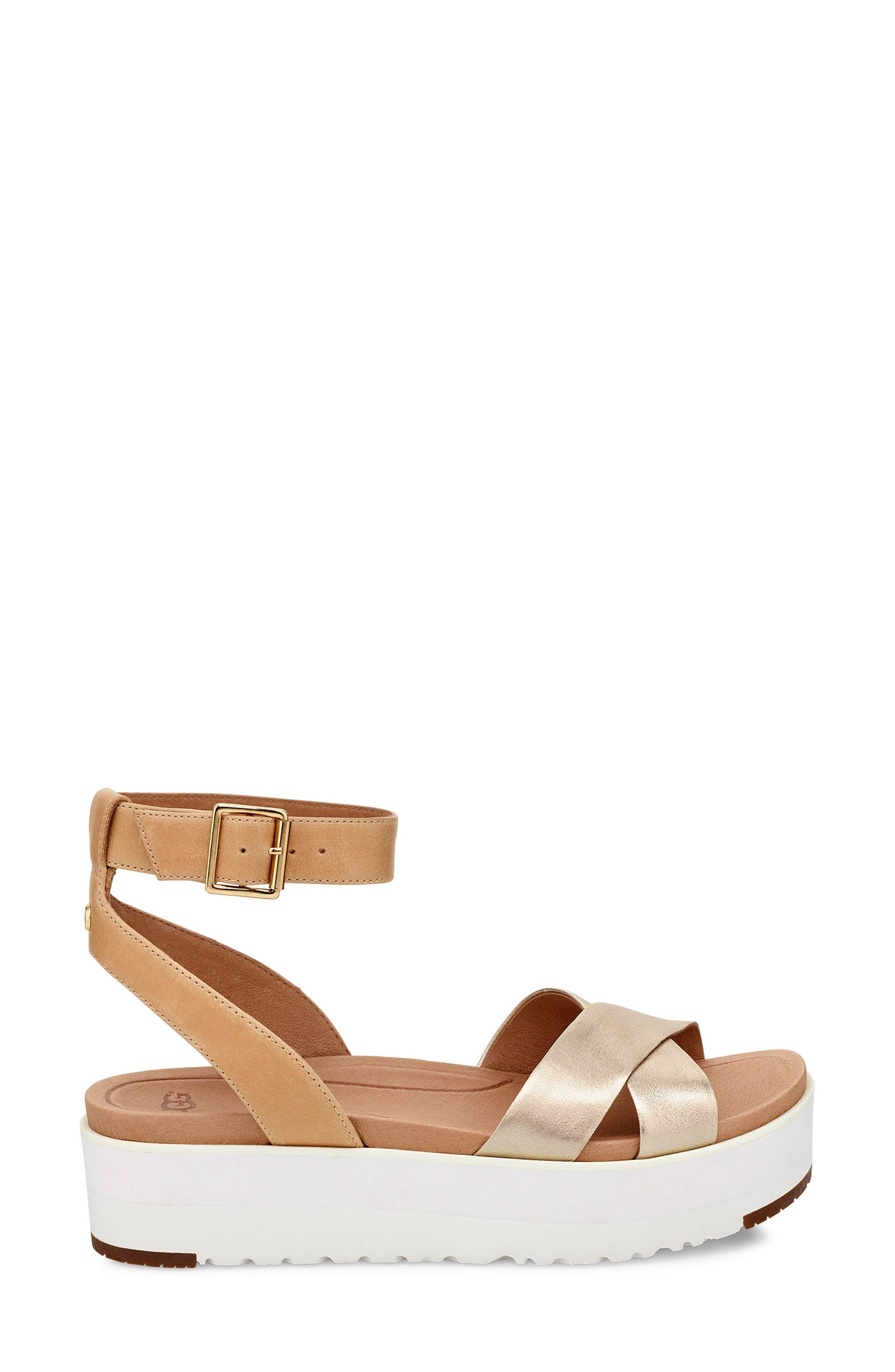 Tipton Metallic Platform Sandal,                             Alternate thumbnail 3, color,                             GOLD