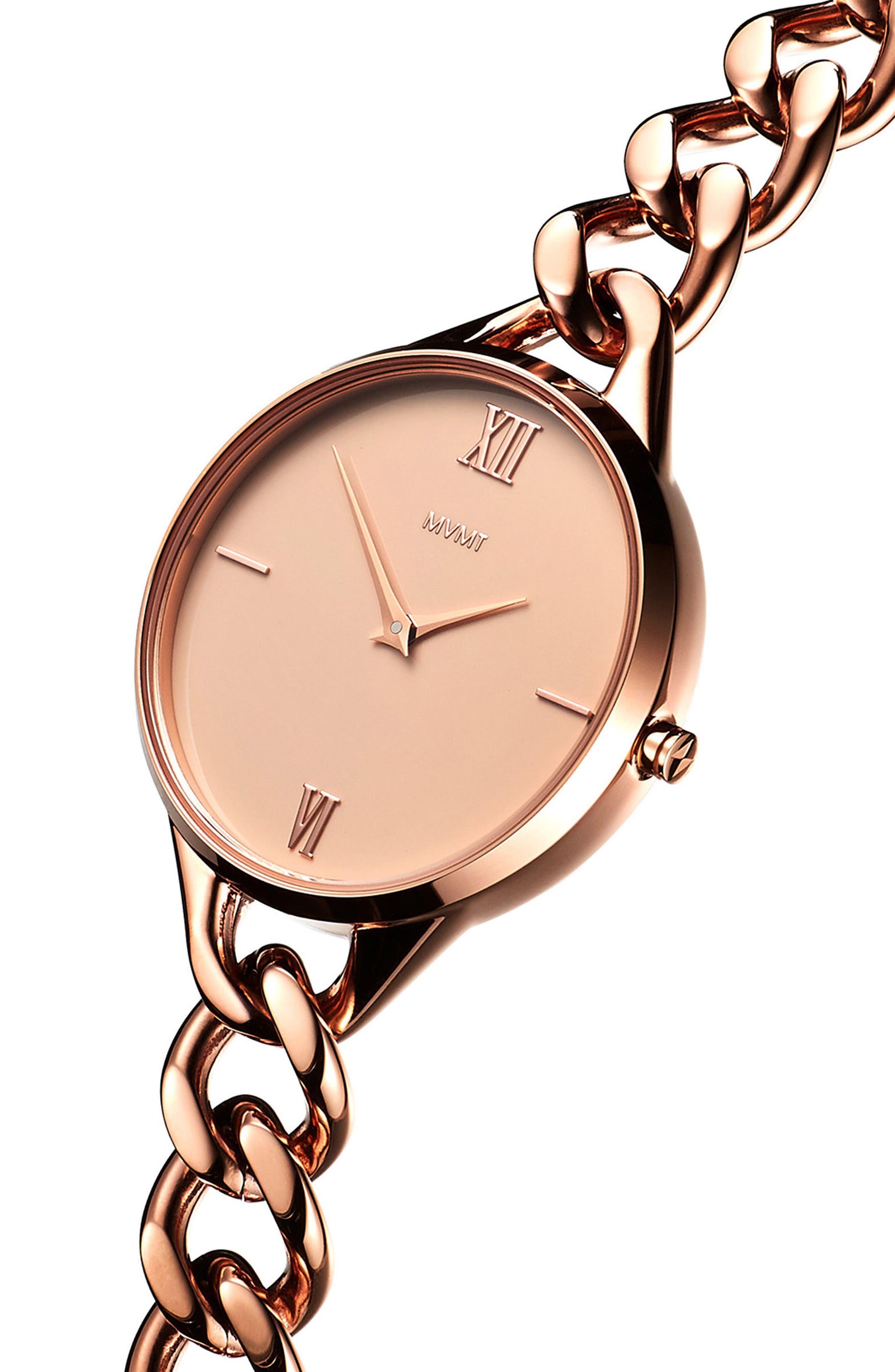Gala Chain Bracelet Watch, 32mm,                             Alternate thumbnail 3, color,                             ROSE GOLD