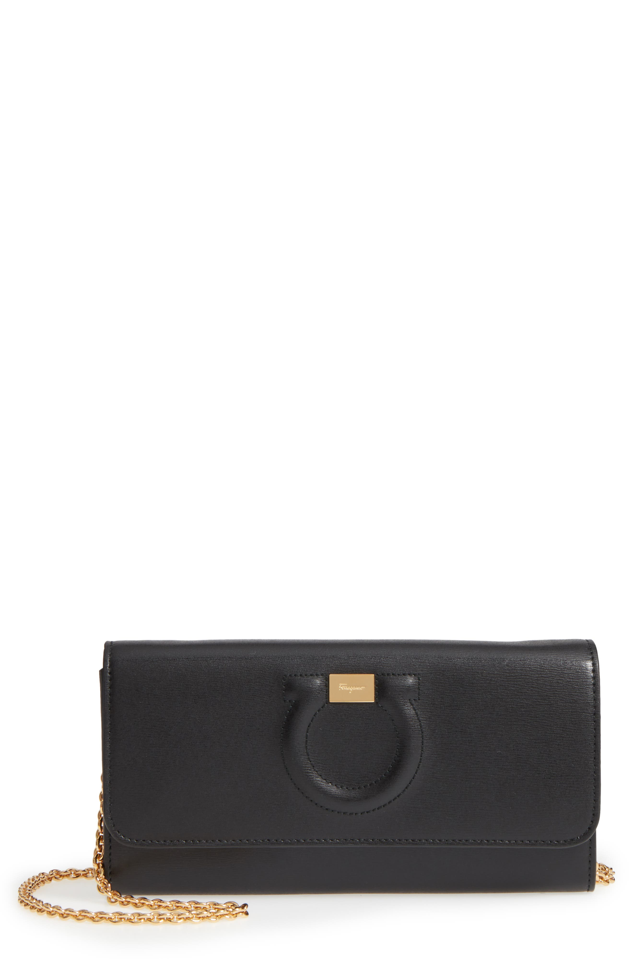City Quilted Gancio Leather Wallet on a Chain, Main, color, NERO