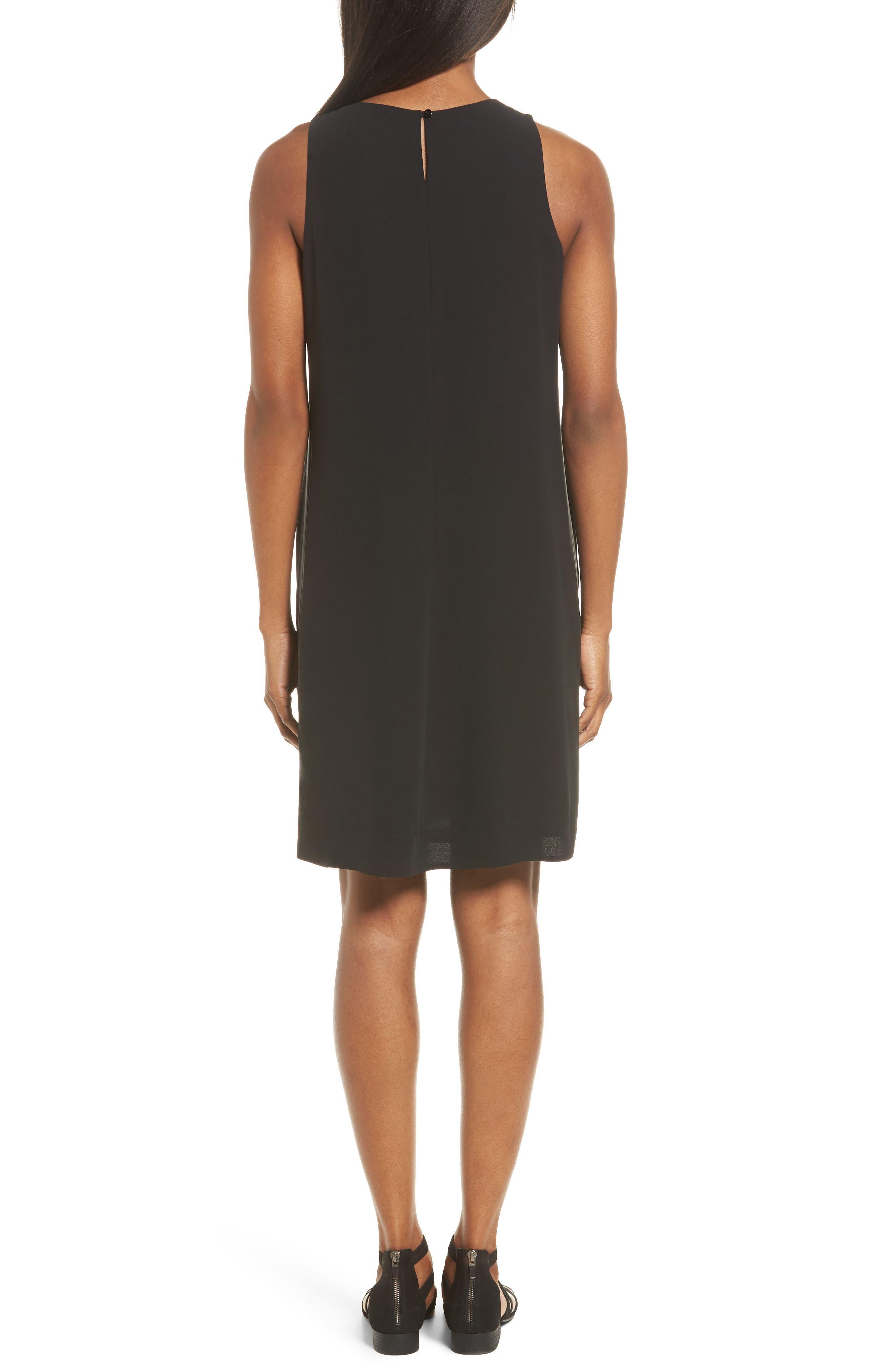 Silk A-Line Dress,                             Alternate thumbnail 2, color,                             001