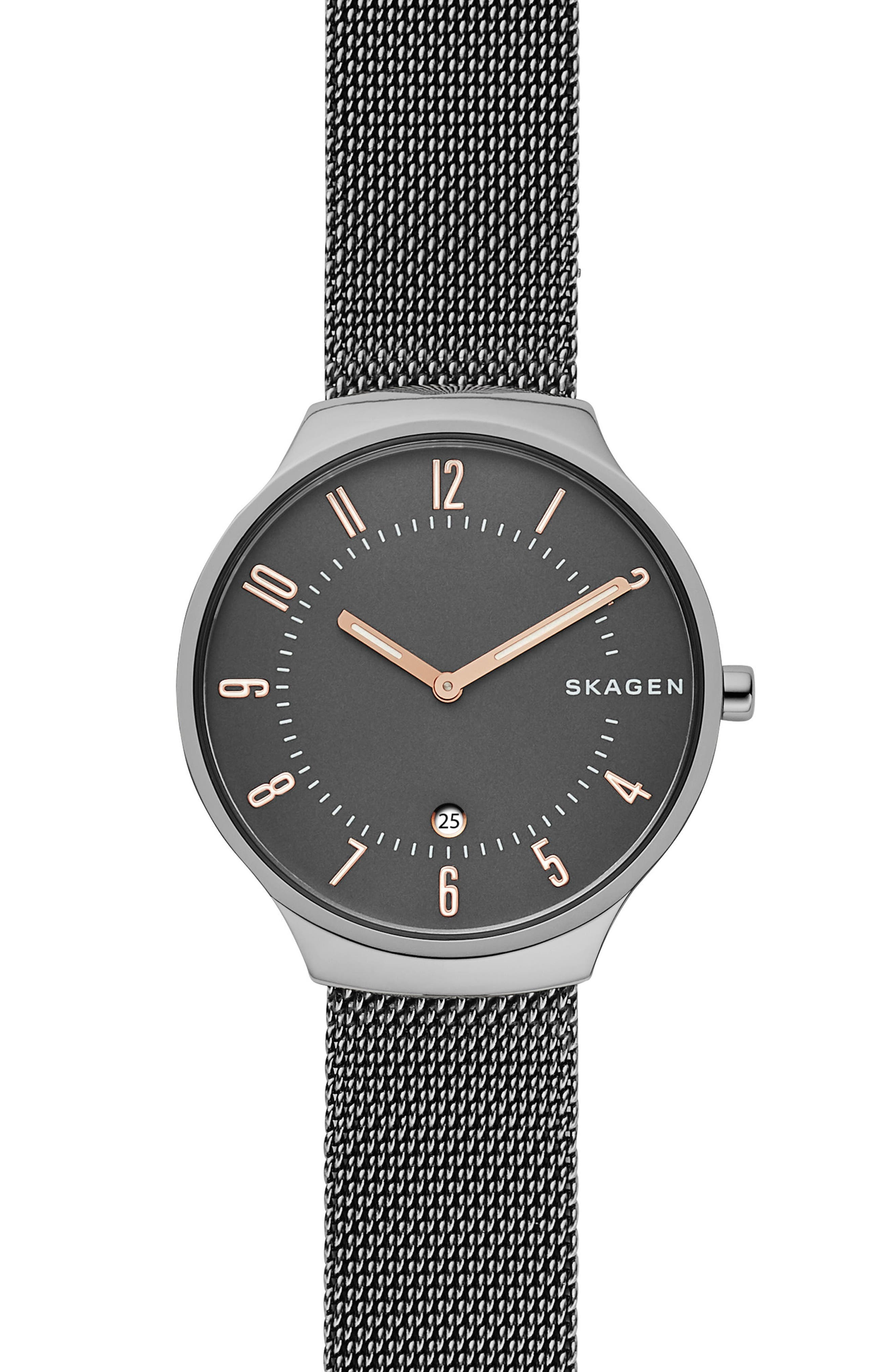 Grenen Mesh Strap Watch, 38mm,                             Main thumbnail 1, color,                             GUNMETAL/ GRAY