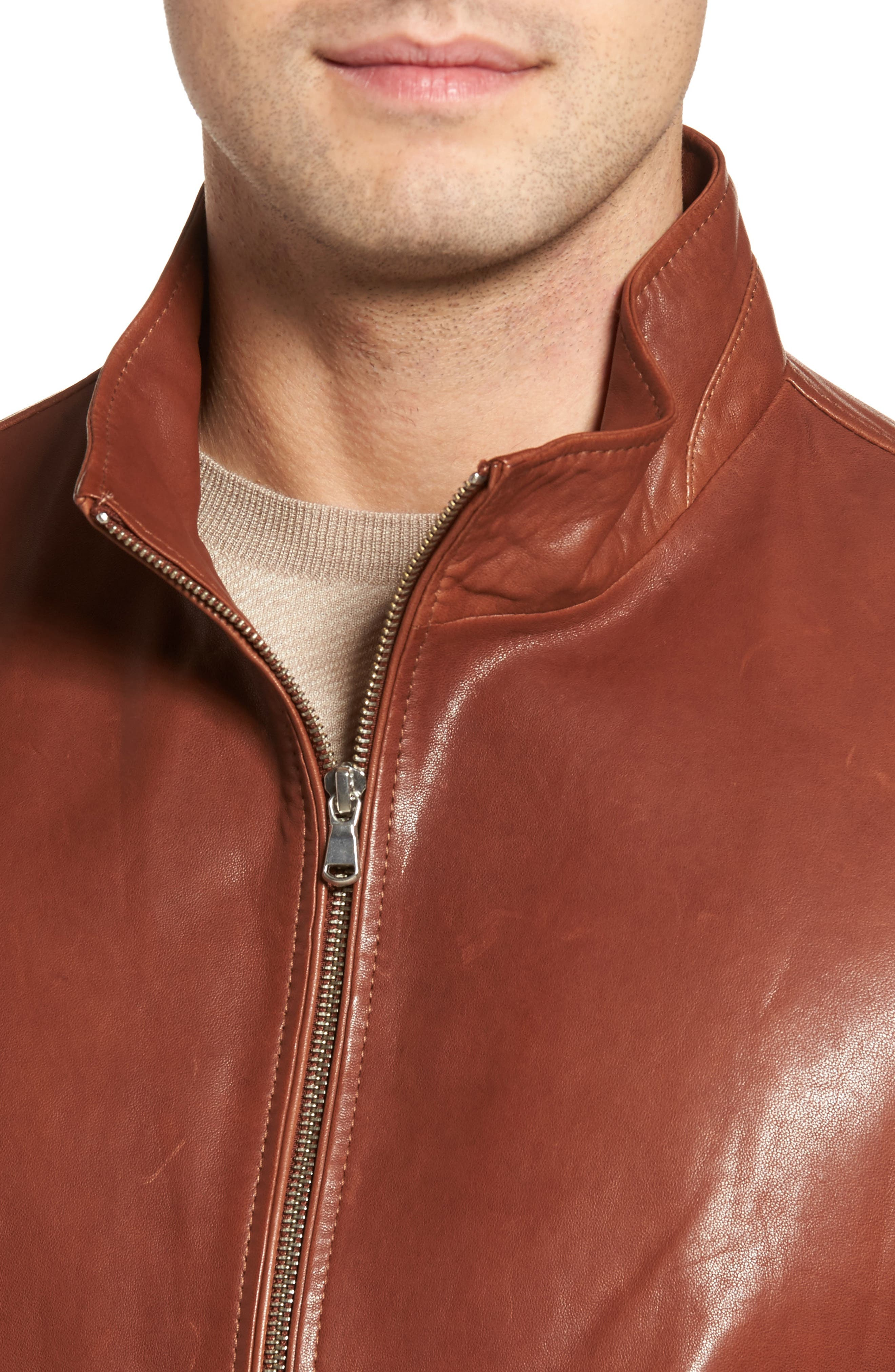 Classic Leather Bomber Jacket,                             Alternate thumbnail 4, color,