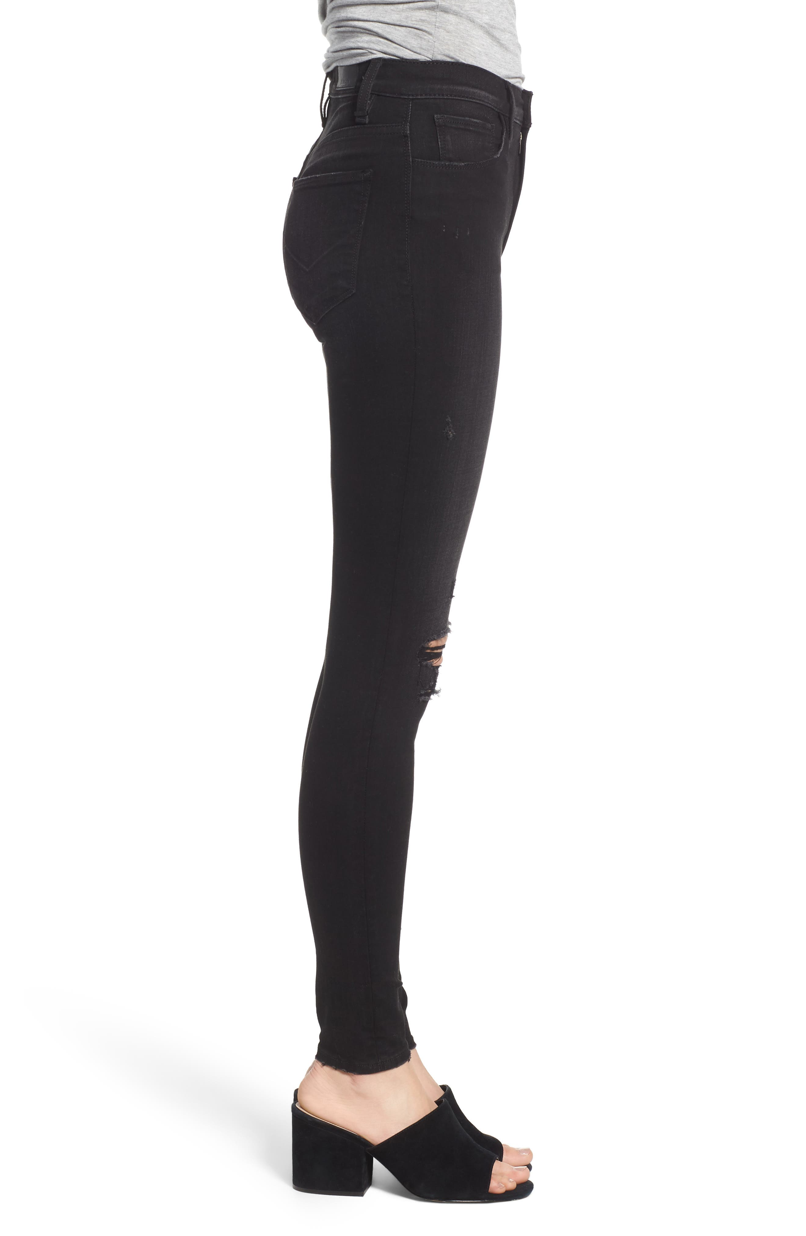 Barbara Ripped High Waist Super Skinny Jeans,                             Alternate thumbnail 3, color,                             WESTBOUND