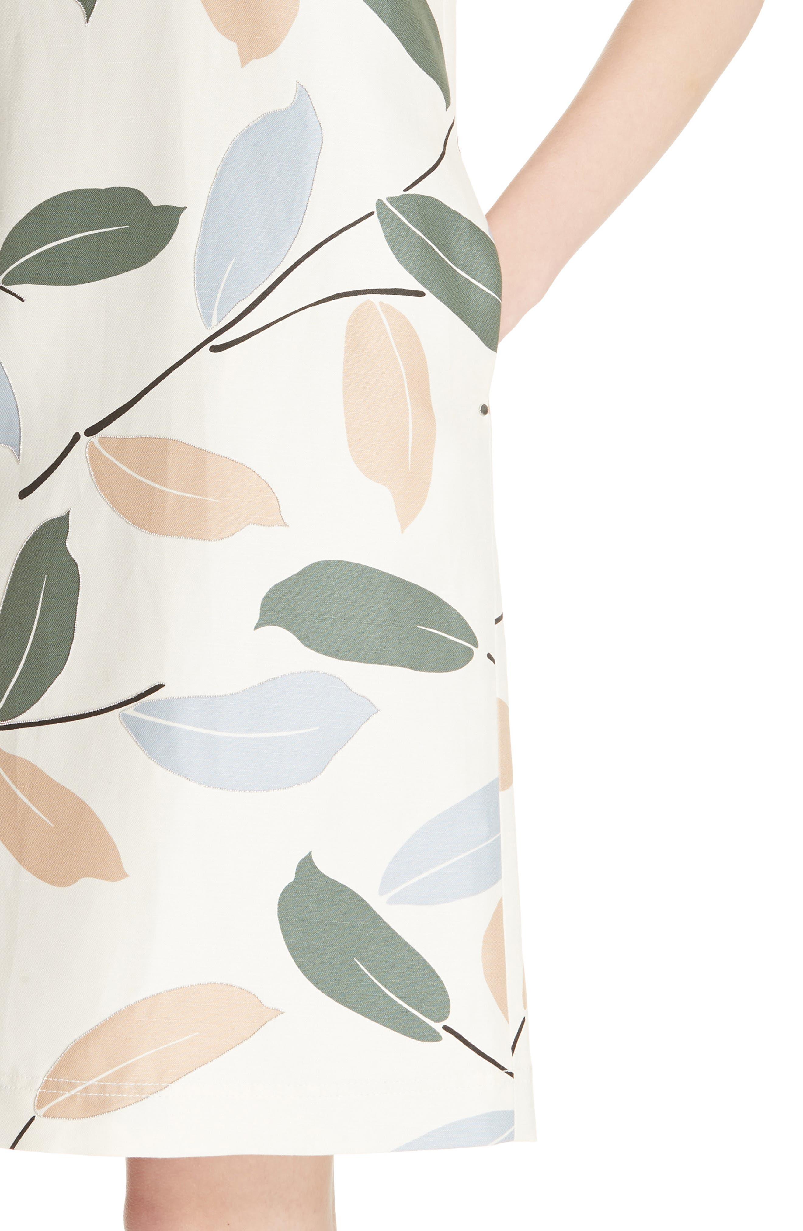 Hana Linen & Cotton Shift Dress,                             Alternate thumbnail 4, color,                             RAFFIA MULTI