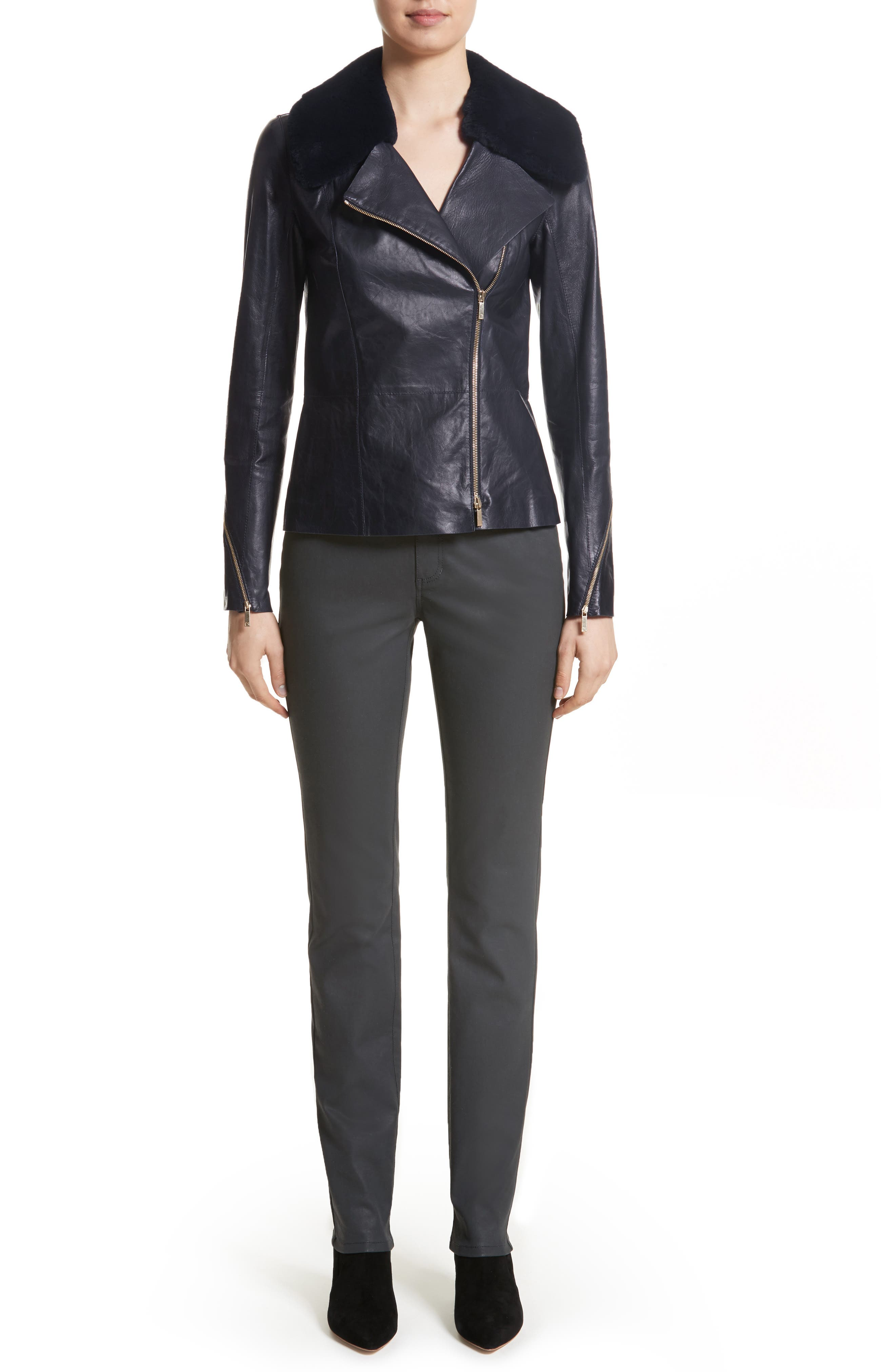 Kimbry Leather Jacket with Removable Genuine Rex Rabbit Fur Collar,                             Alternate thumbnail 7, color,                             479