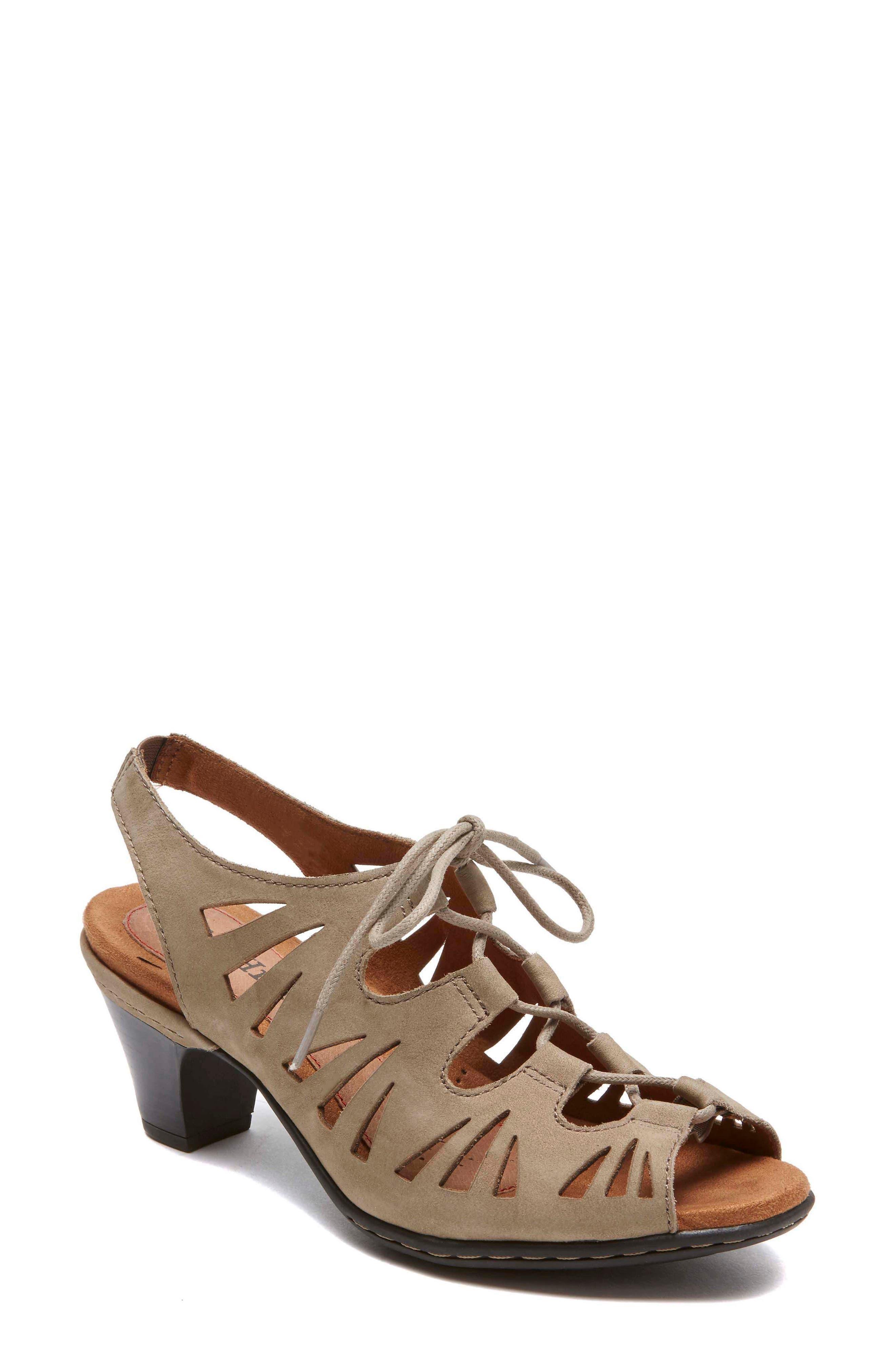 Cobb Hill 'Sasha' Caged Leather Peep Toe Sandal,                             Main thumbnail 1, color,                             KHAKI NUBUCK LEATHER