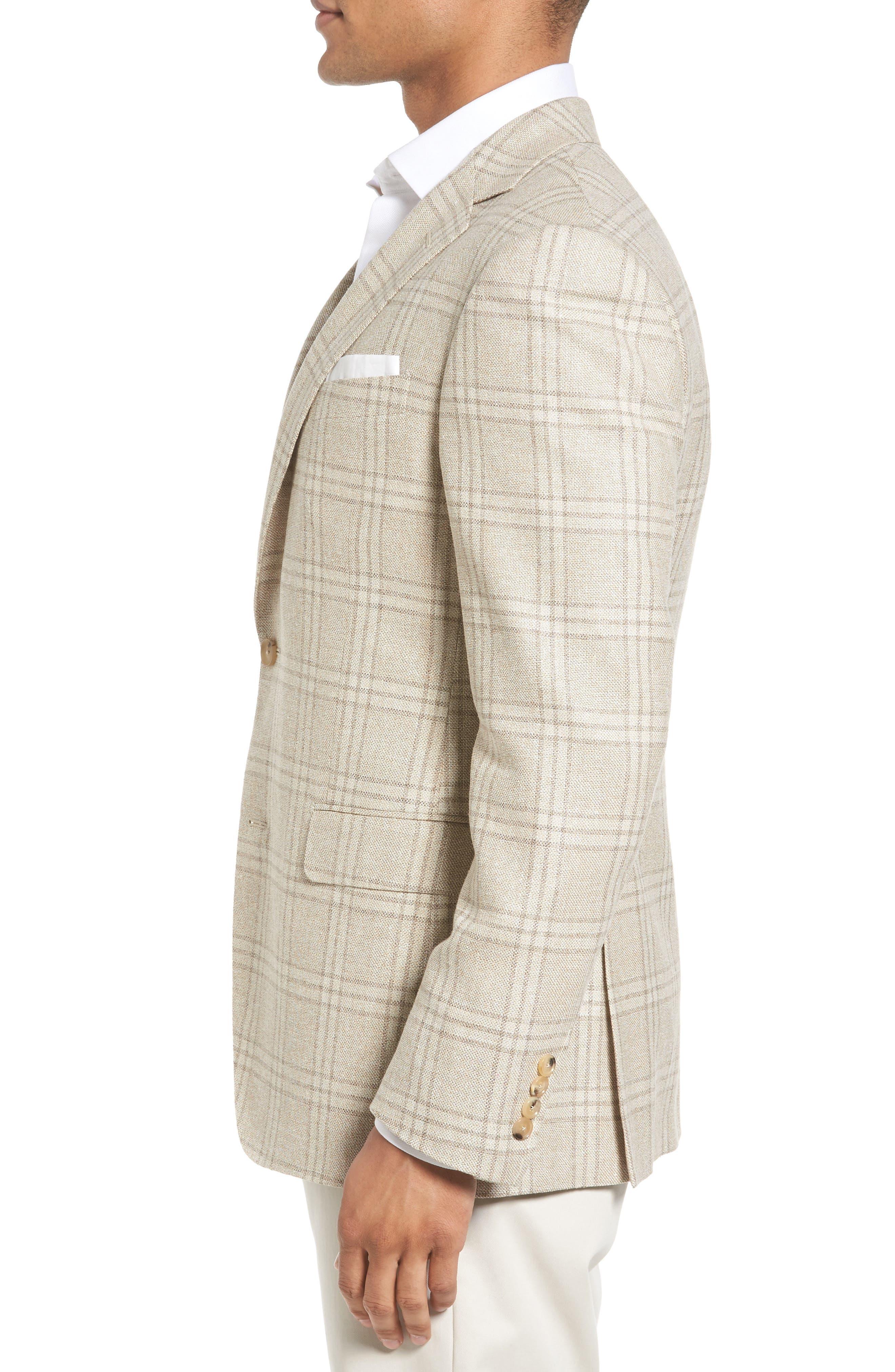 Plaid Wool Blend Sport Coat,                             Alternate thumbnail 3, color,                             252