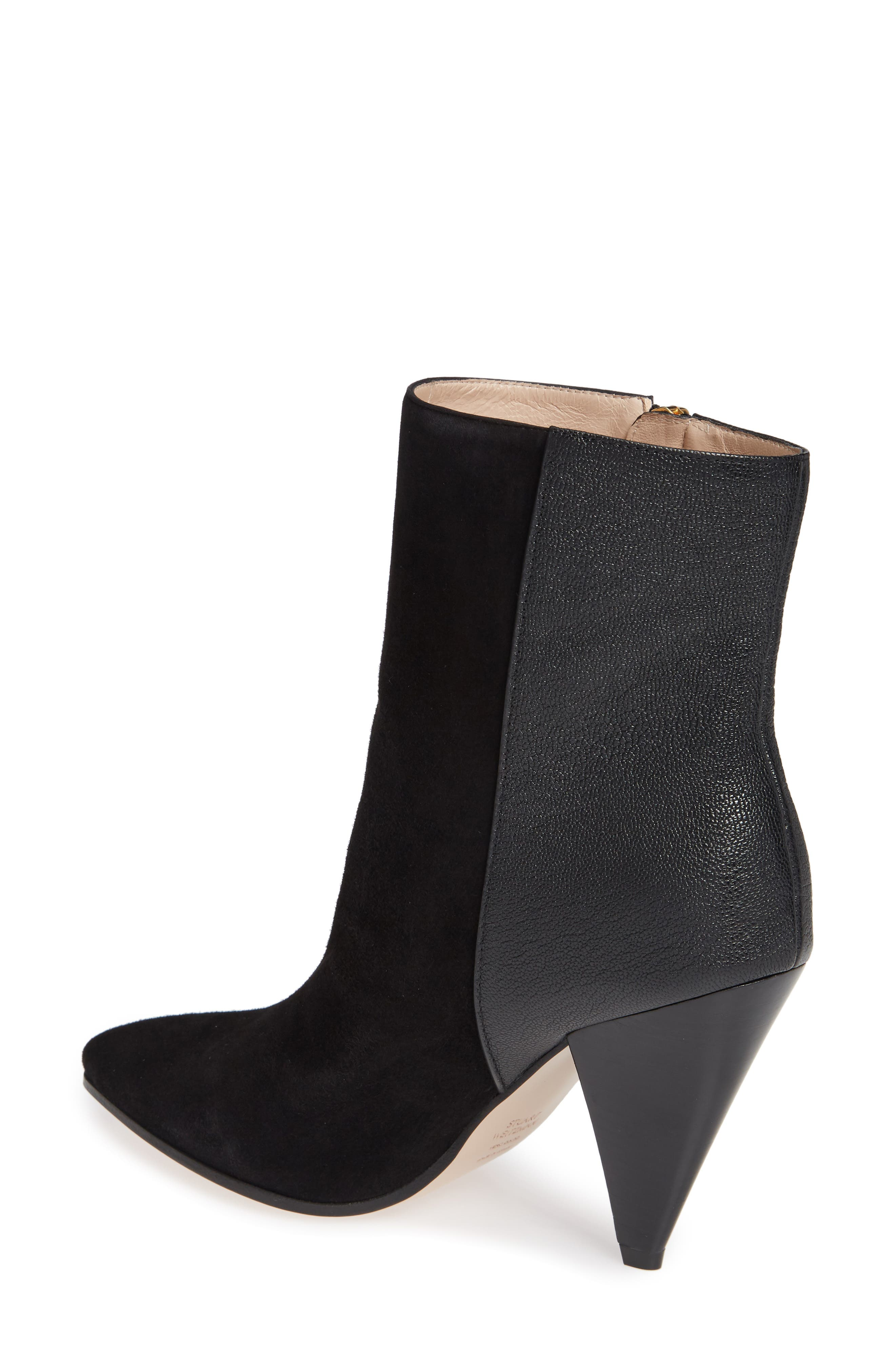 Cone Heel Bootie,                             Alternate thumbnail 2, color,                             PITCH BLACK COMBO SUEDE