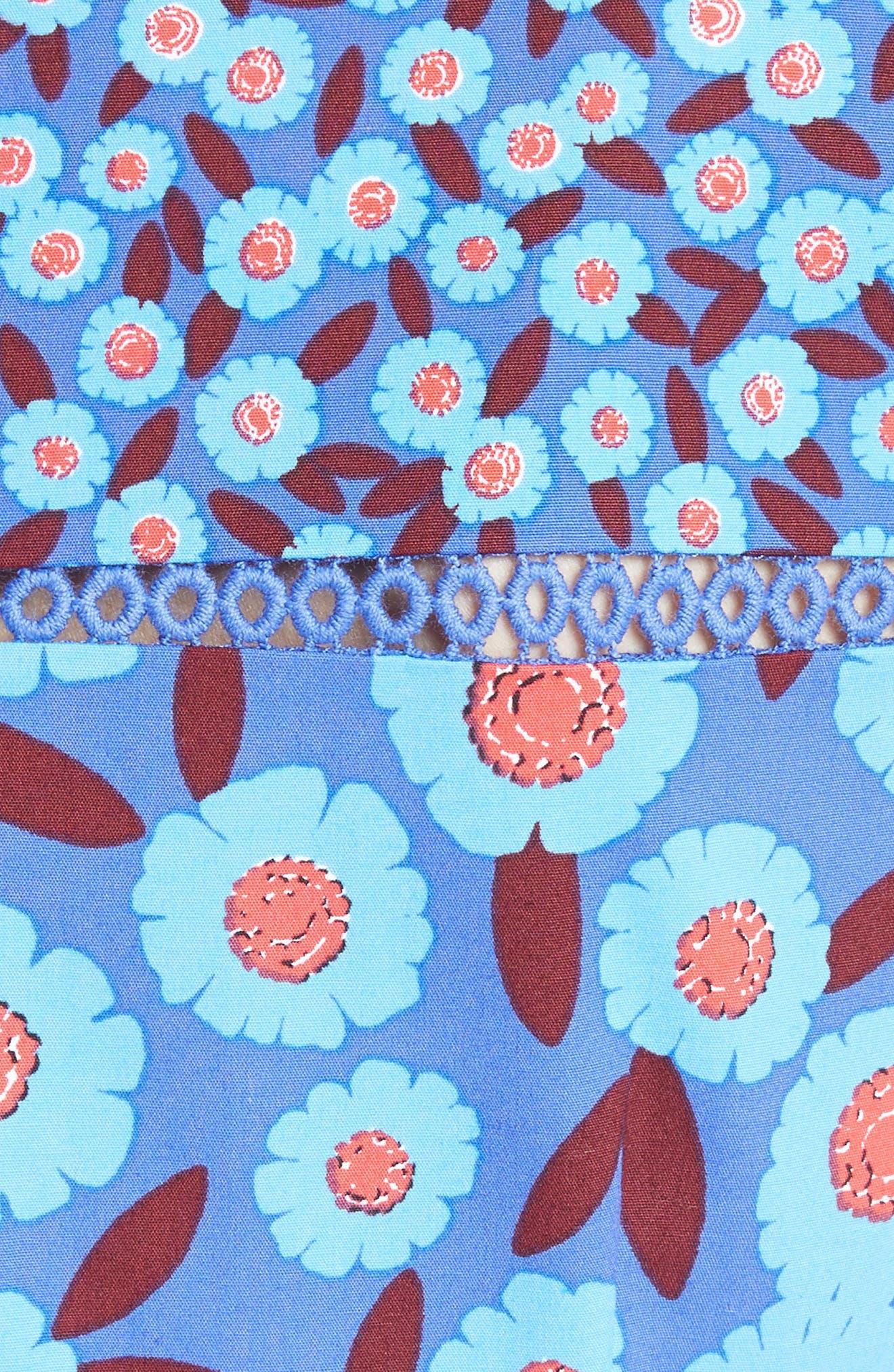 tangier floral midi dress,                             Alternate thumbnail 5, color,                             408