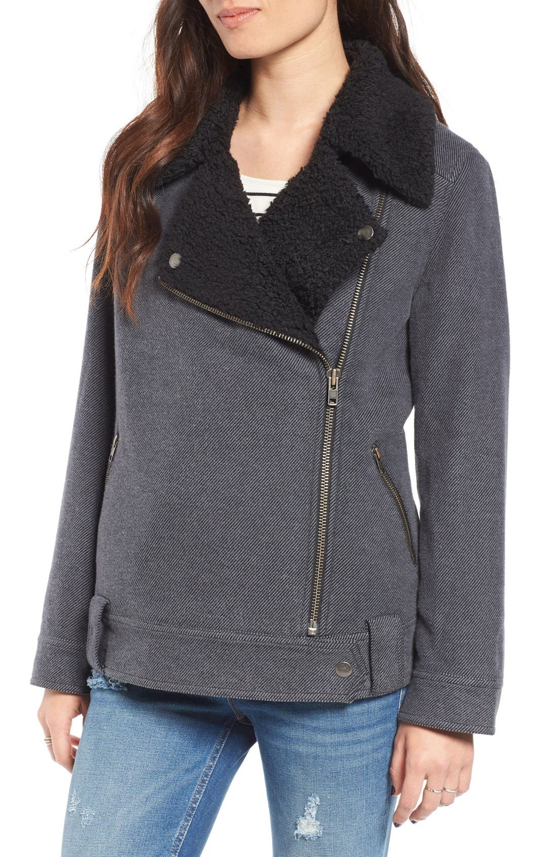 Oversized Faux Shearling Lined Moto Jacket,                             Alternate thumbnail 4, color,                             021