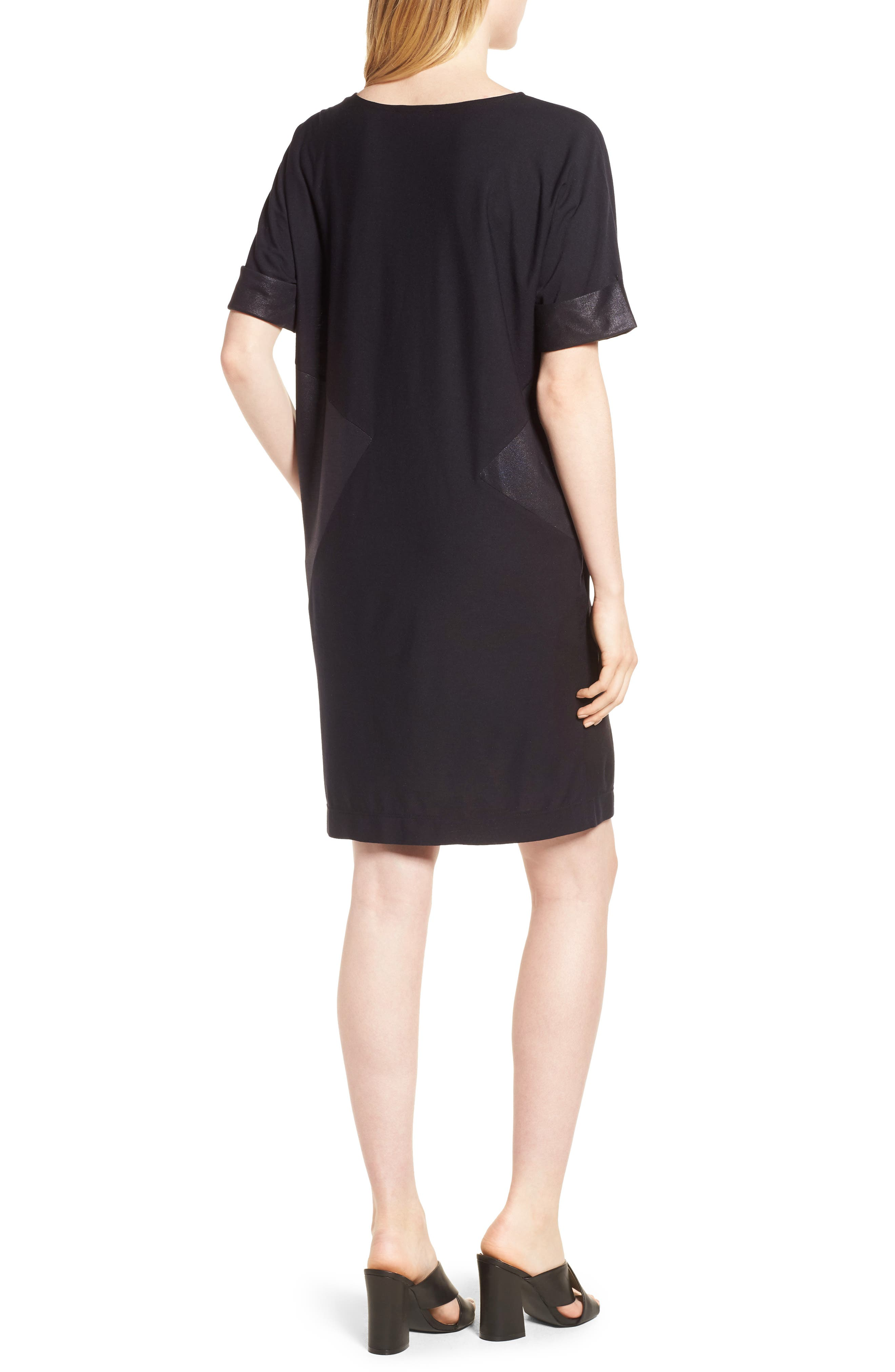 Glitter Block T-Shirt Dress,                             Alternate thumbnail 2, color,                             BLACK