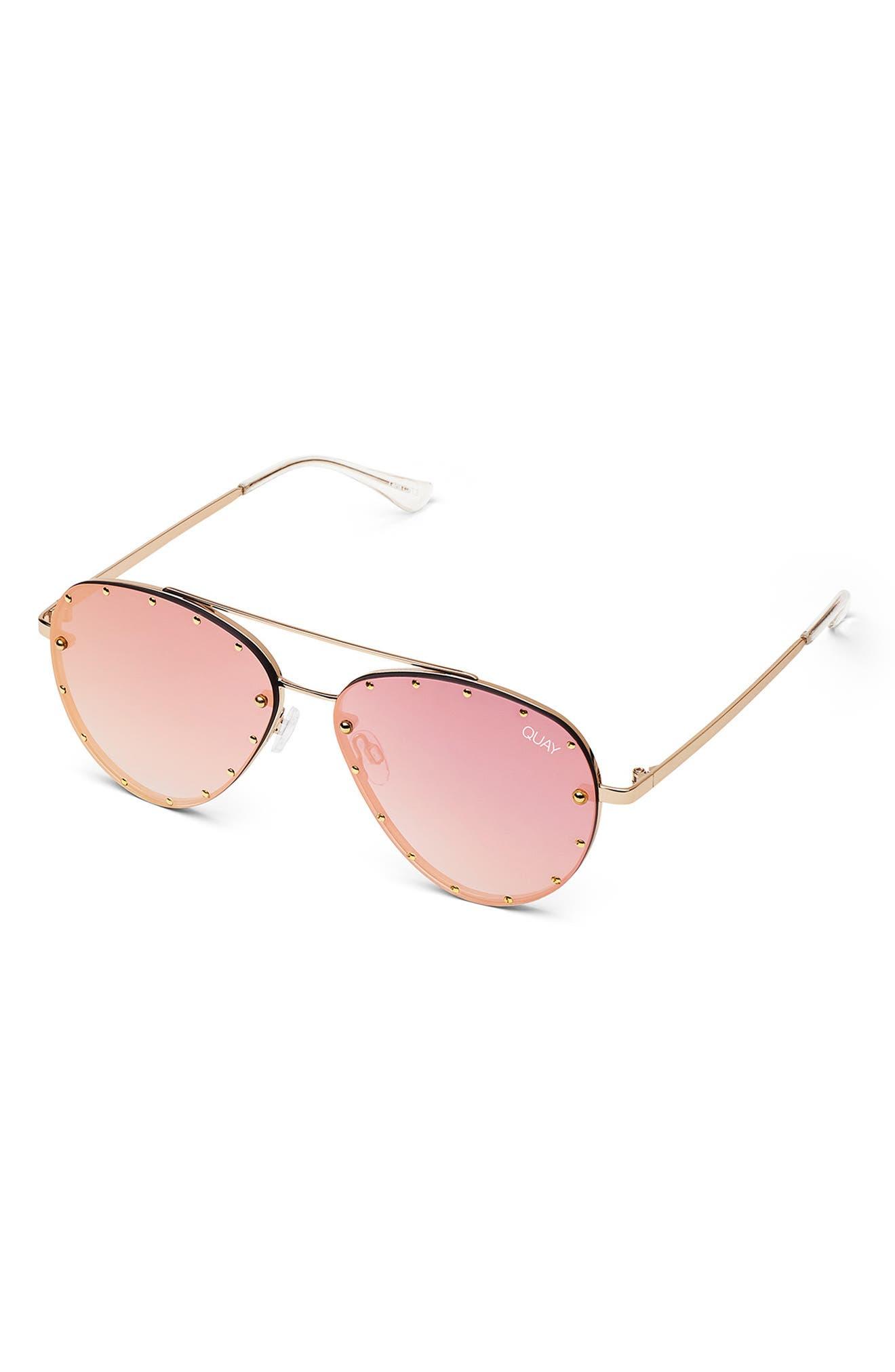 x Jaclyn Hill Roxanne 62mm Stud Aviator Sunglasses,                             Alternate thumbnail 3, color,                             GOLD / ROSE