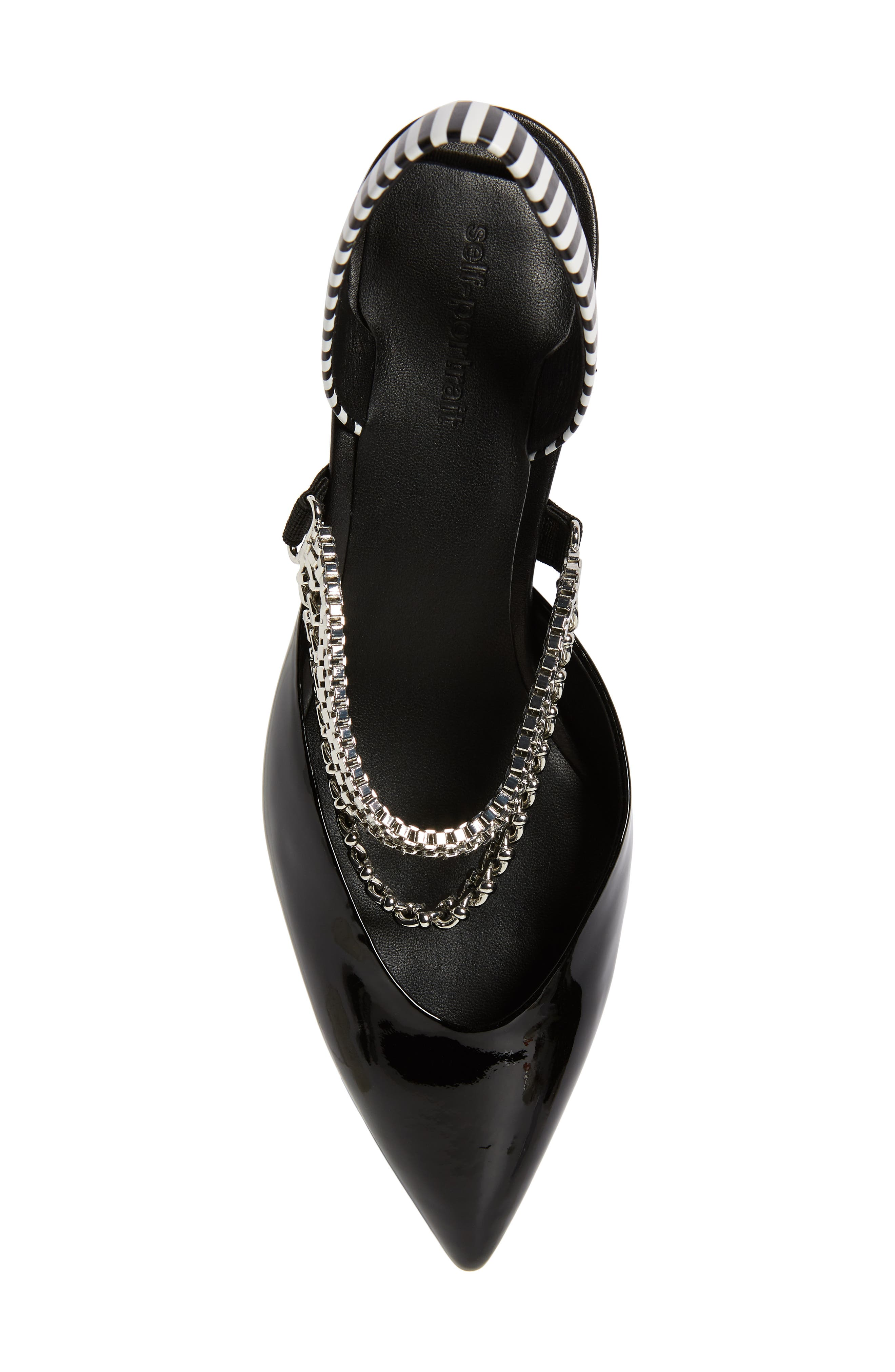 Kitty Chain Embellished Slingback Pump,                             Alternate thumbnail 5, color,                             001
