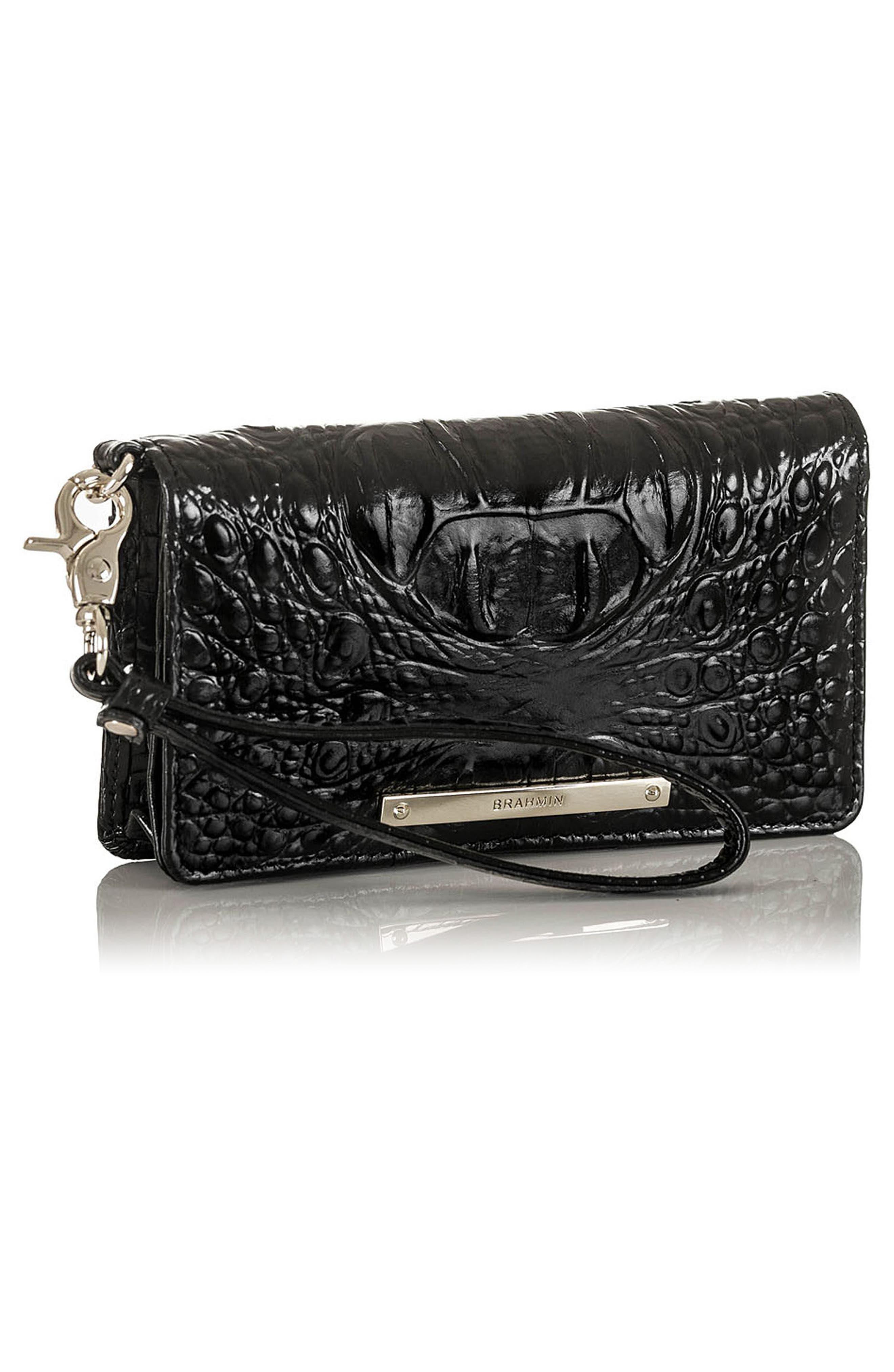 Debra Croc Embossed Leather Phone Wallet,                             Alternate thumbnail 4, color,                             001