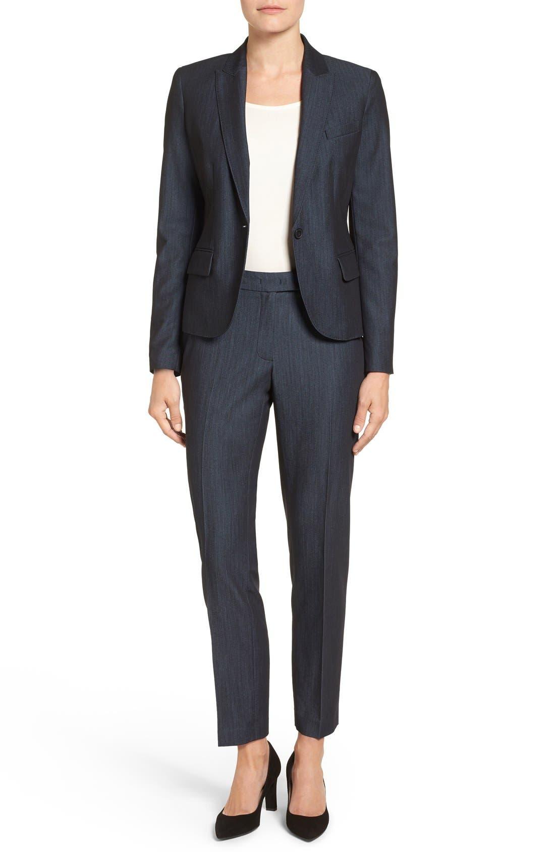 Slim Stretch Denim Suit Pants,                             Alternate thumbnail 4, color,                             400