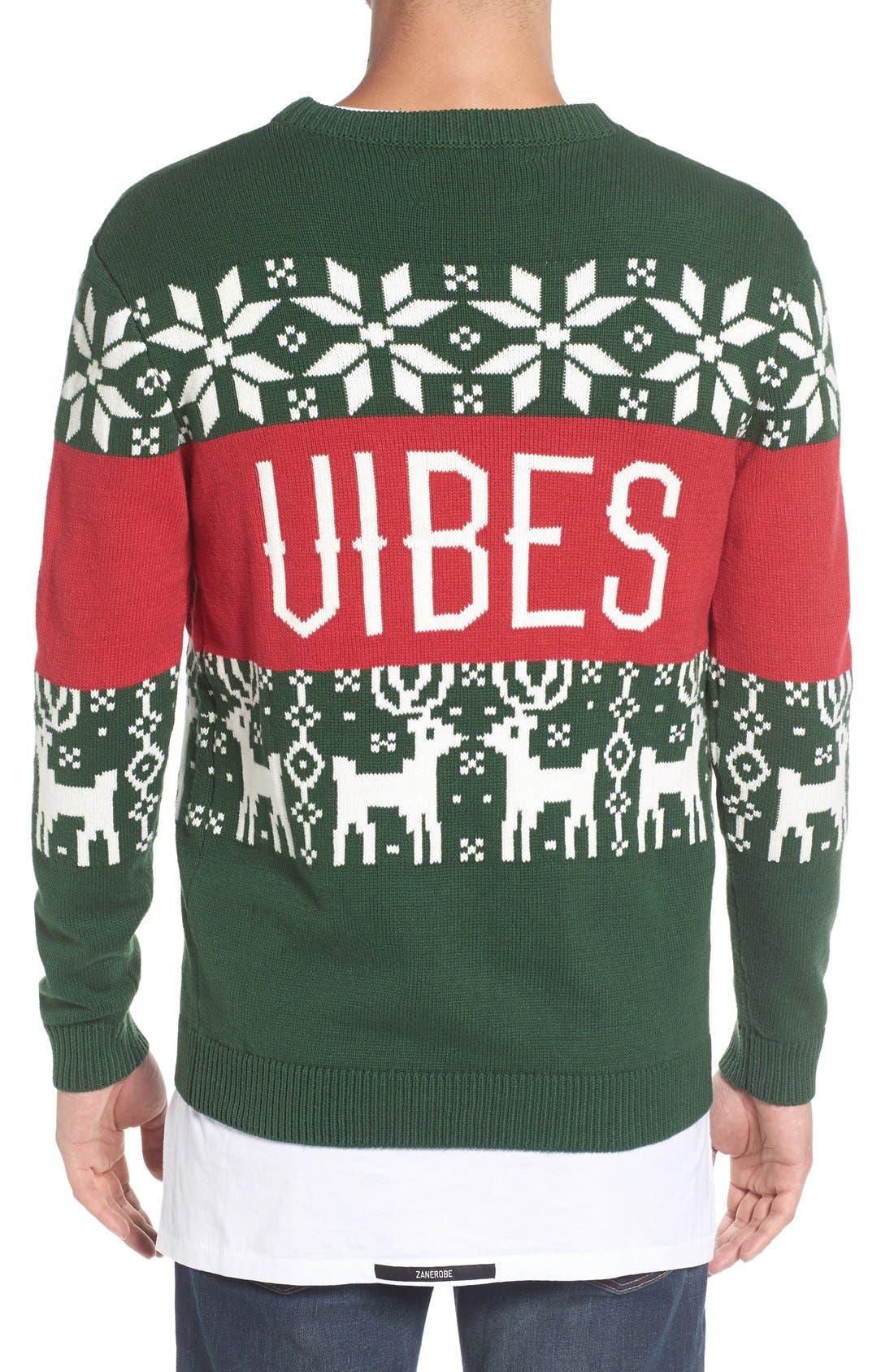 'Chill Vibes' Intarsia Crewneck Sweater,                             Alternate thumbnail 2, color,                             641