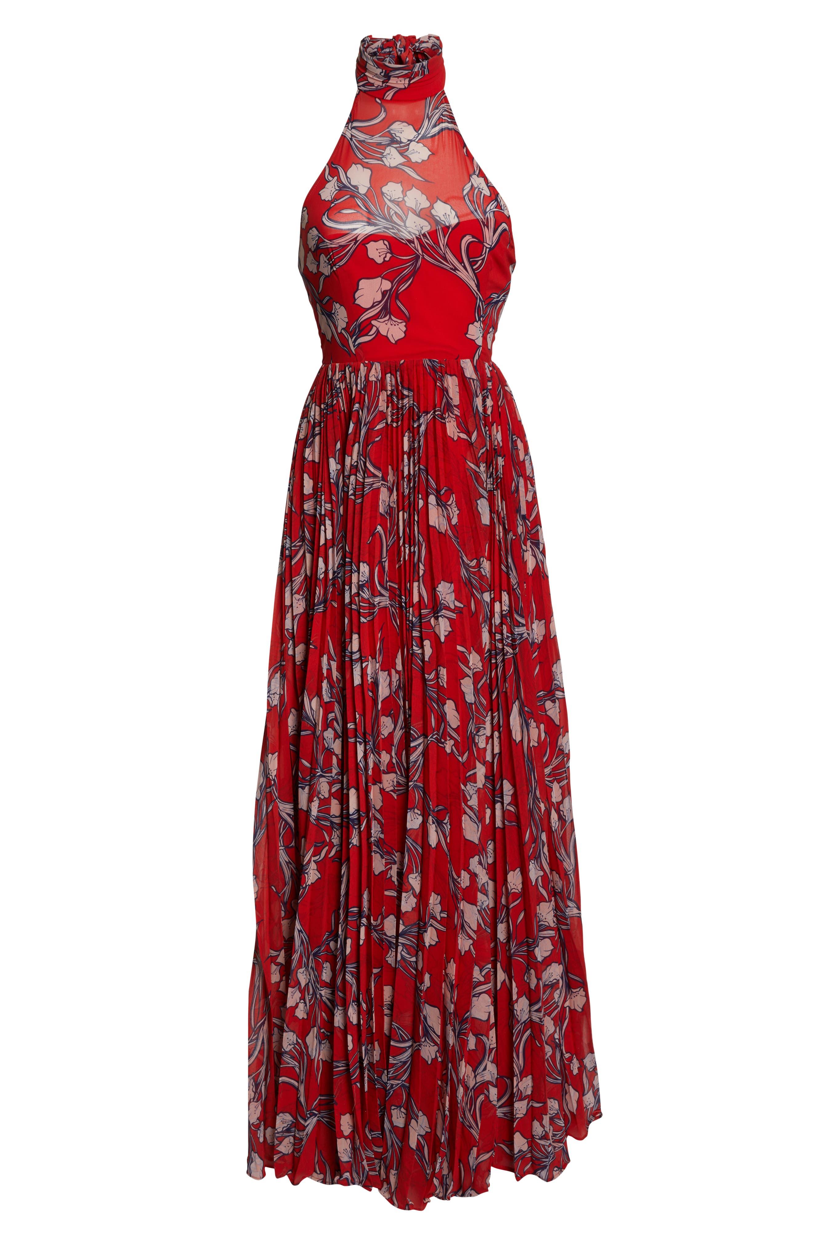 The Zora Chiffon Evening Dress,                             Alternate thumbnail 7, color,                             NOUVEAU FLORAL SUNSET