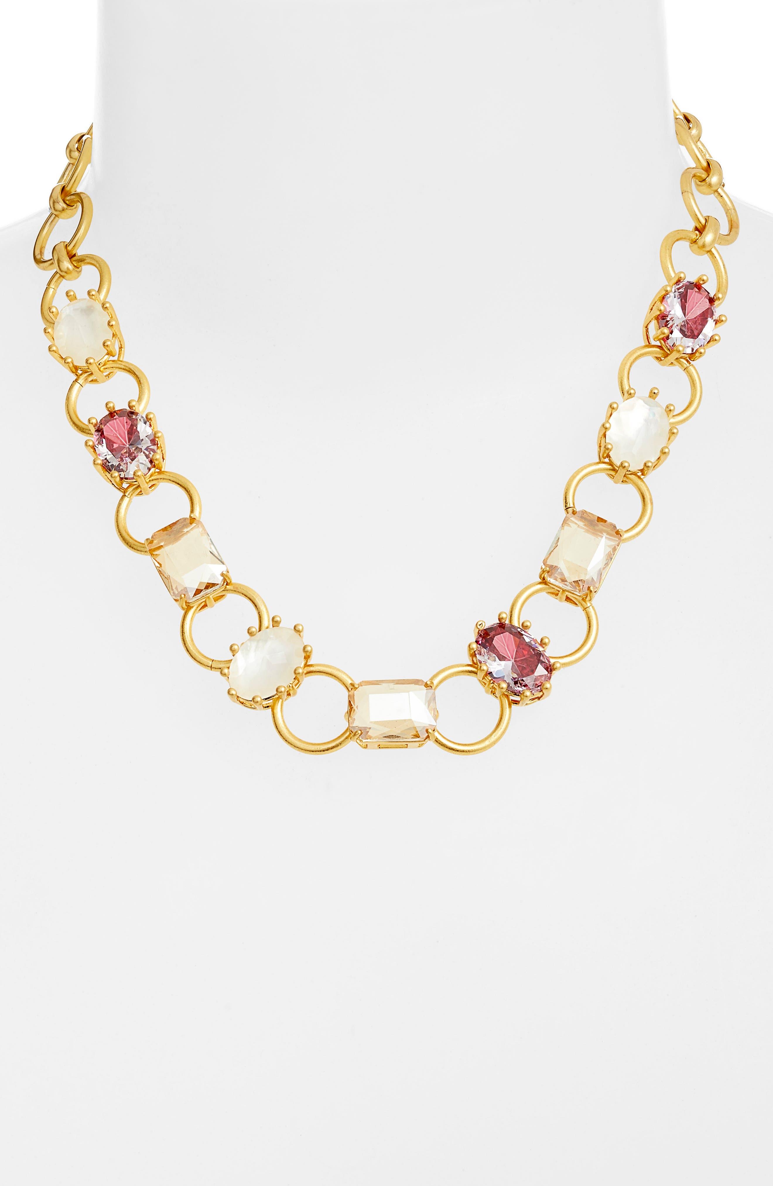 stone necklace,                             Alternate thumbnail 2, color,                             RUSSET MULTI