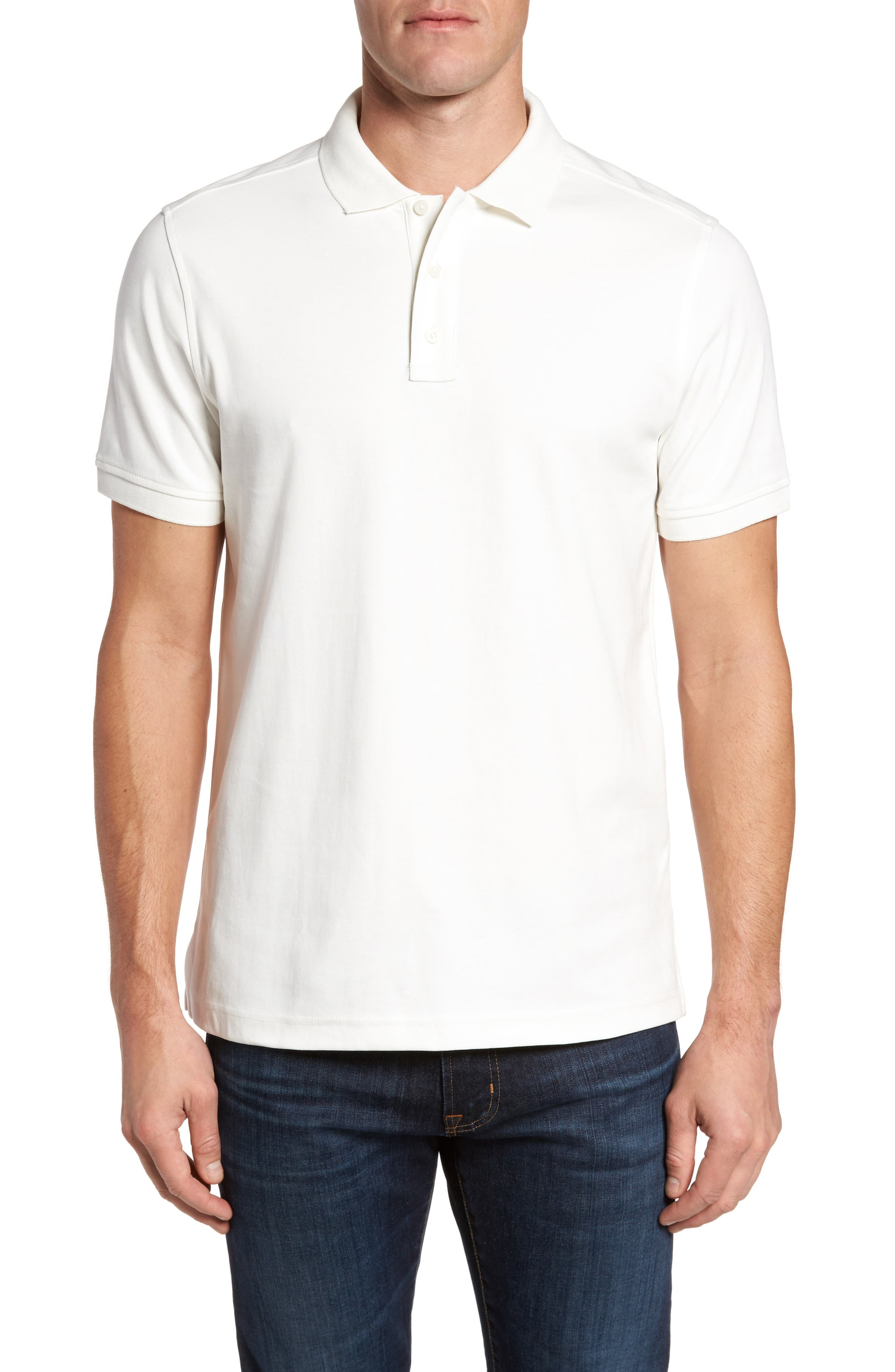 Slim Fit Interlock Knit Polo,                             Main thumbnail 1, color,                             WHITE SNOW