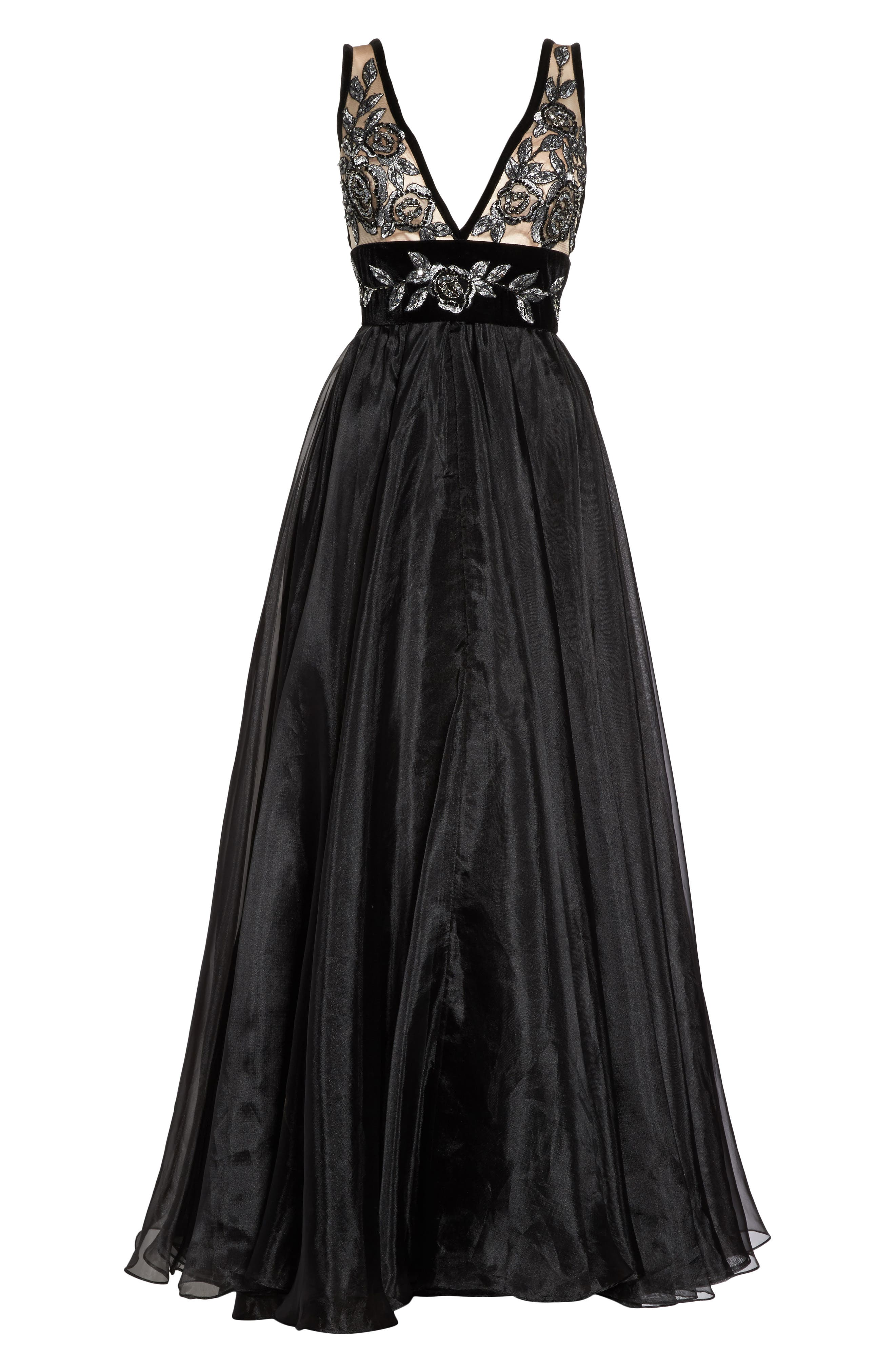 Embroidered Plunge Neck Ballgown,                             Alternate thumbnail 6, color,                             BLACK