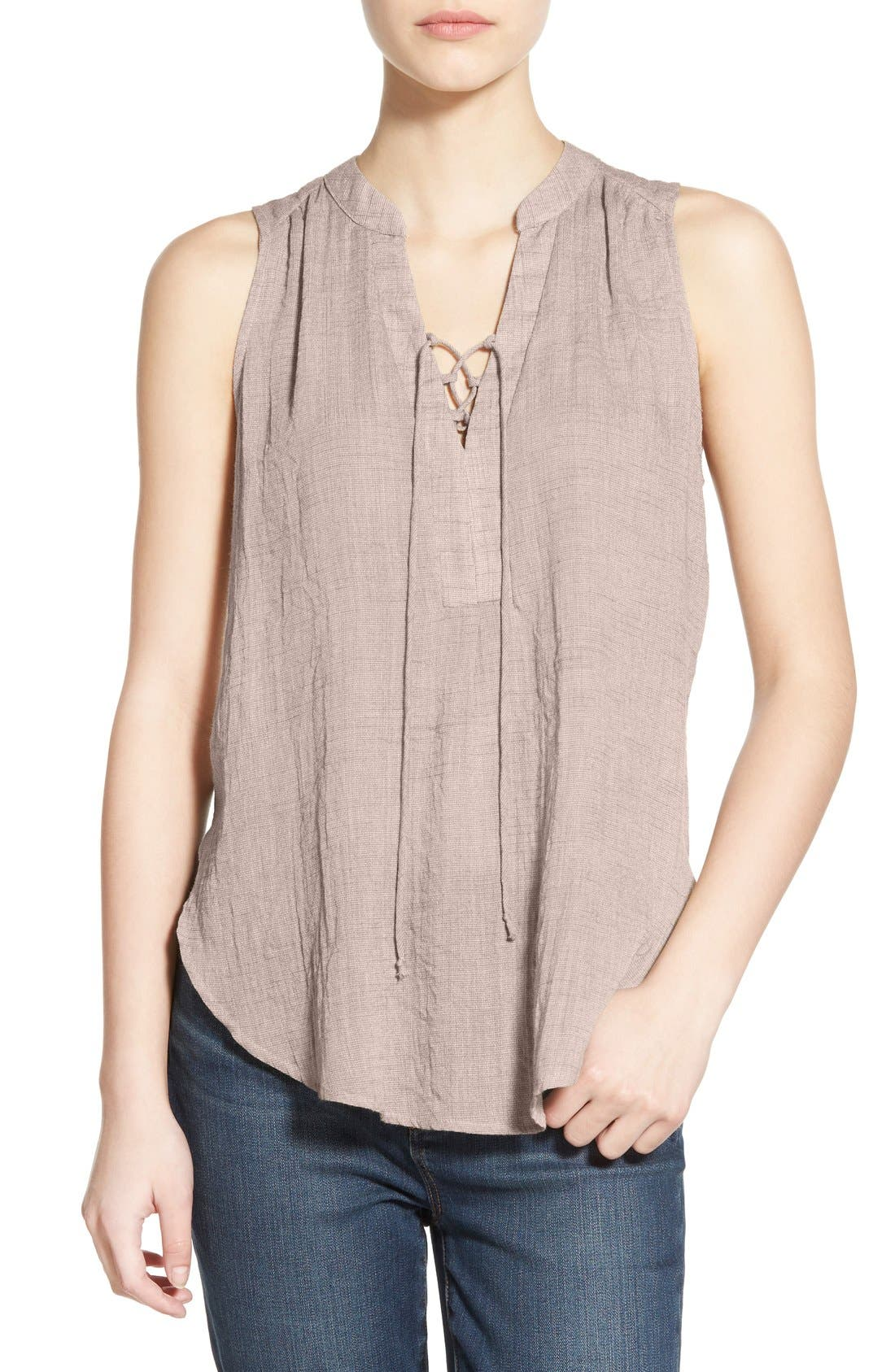 --- Lace-Up Sleeveless Henley Top, Main, color, 020